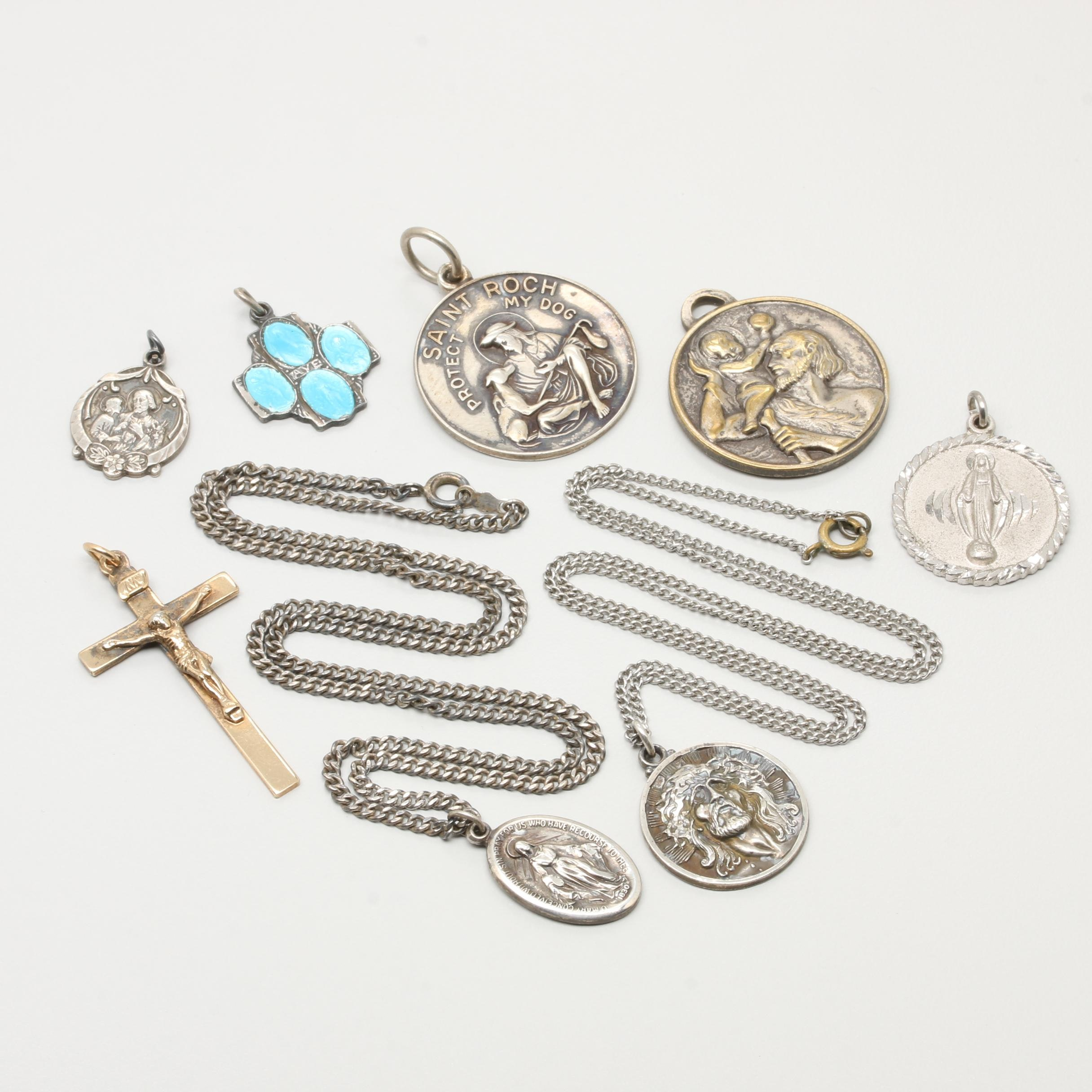 Collection of Sterling Silver Religious Medallions with Enamel