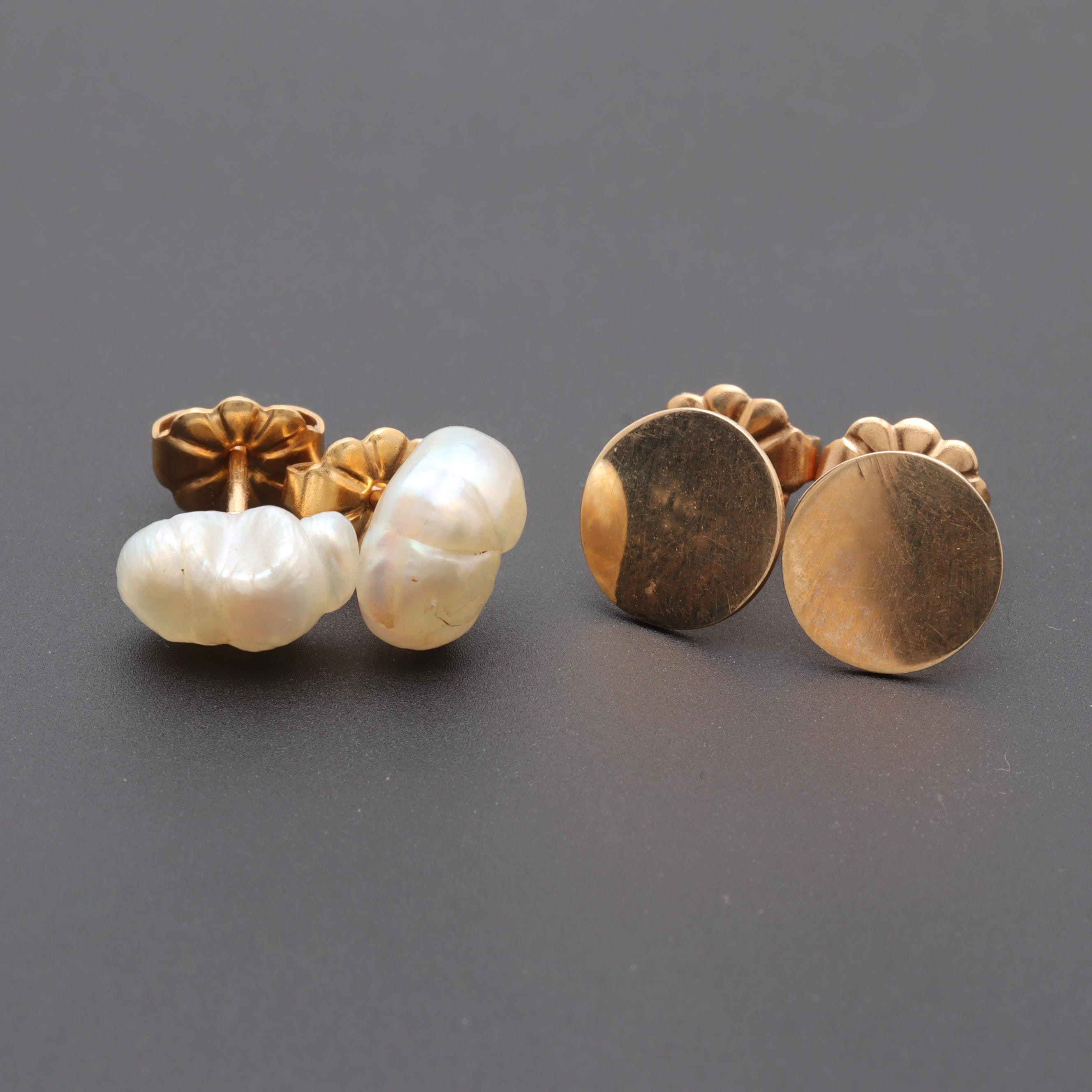 14K Yellow Gold Stud Earring Selection Including Cultured Pearls