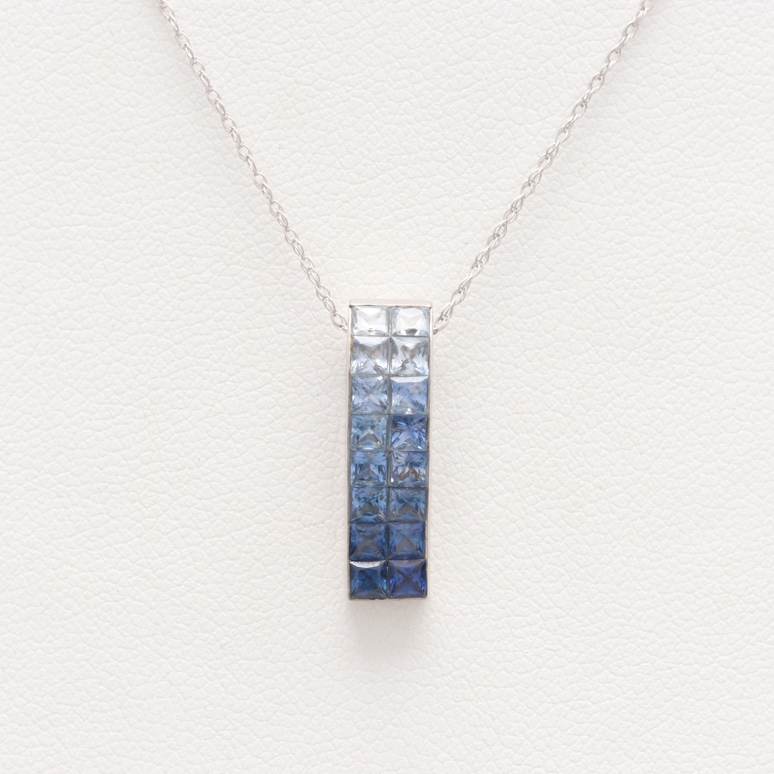 18K White Gold Blue Sapphire Pendant on 14K Gold Chain Necklace