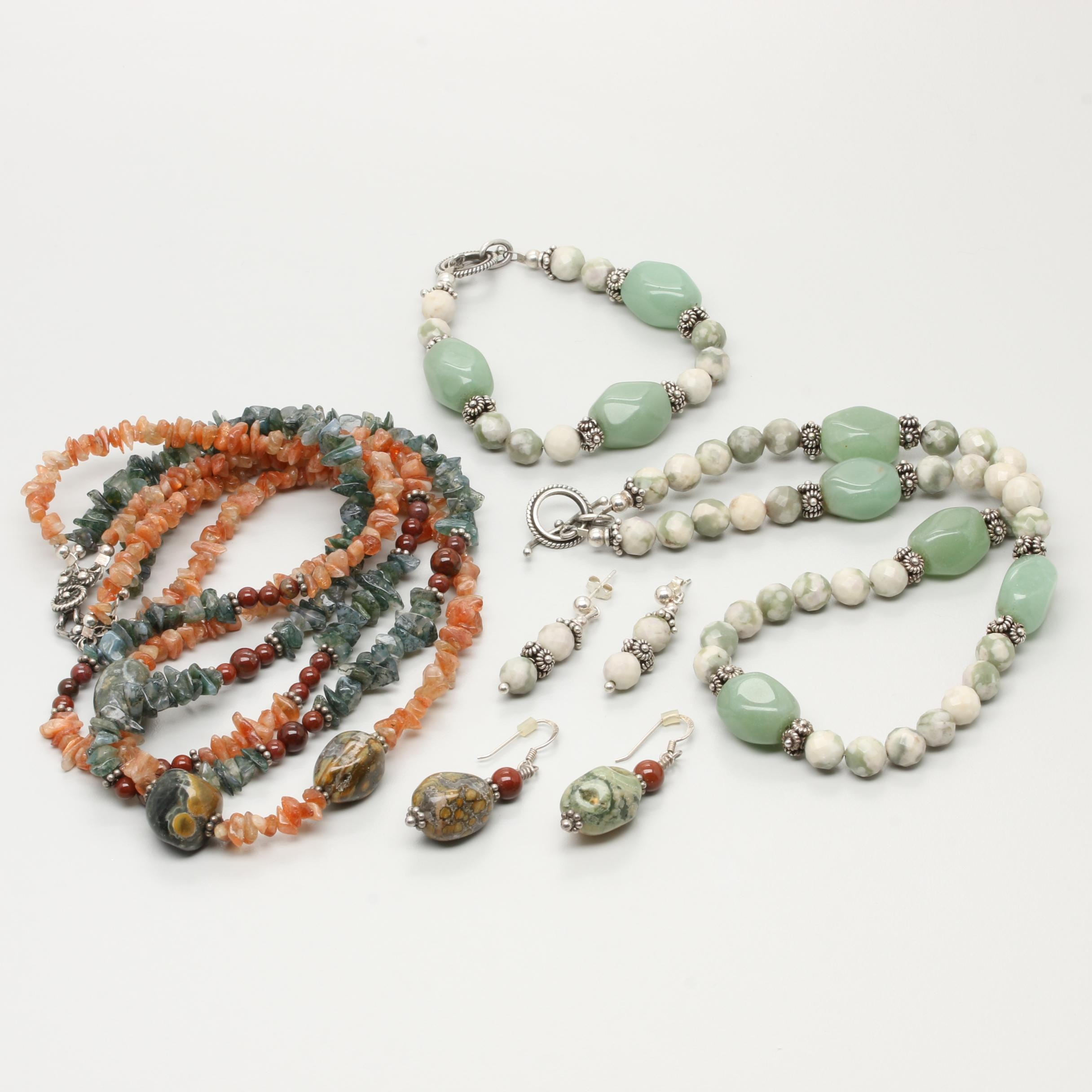 Assorted Sterling Silver Beaded Jewelry Featuring Aventurine, Agate and Jasper