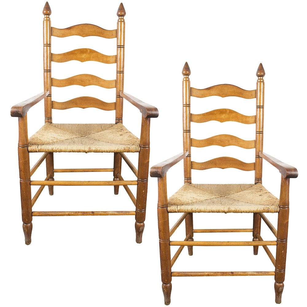 Arched Ladder Back Armchairs with Rush Seats