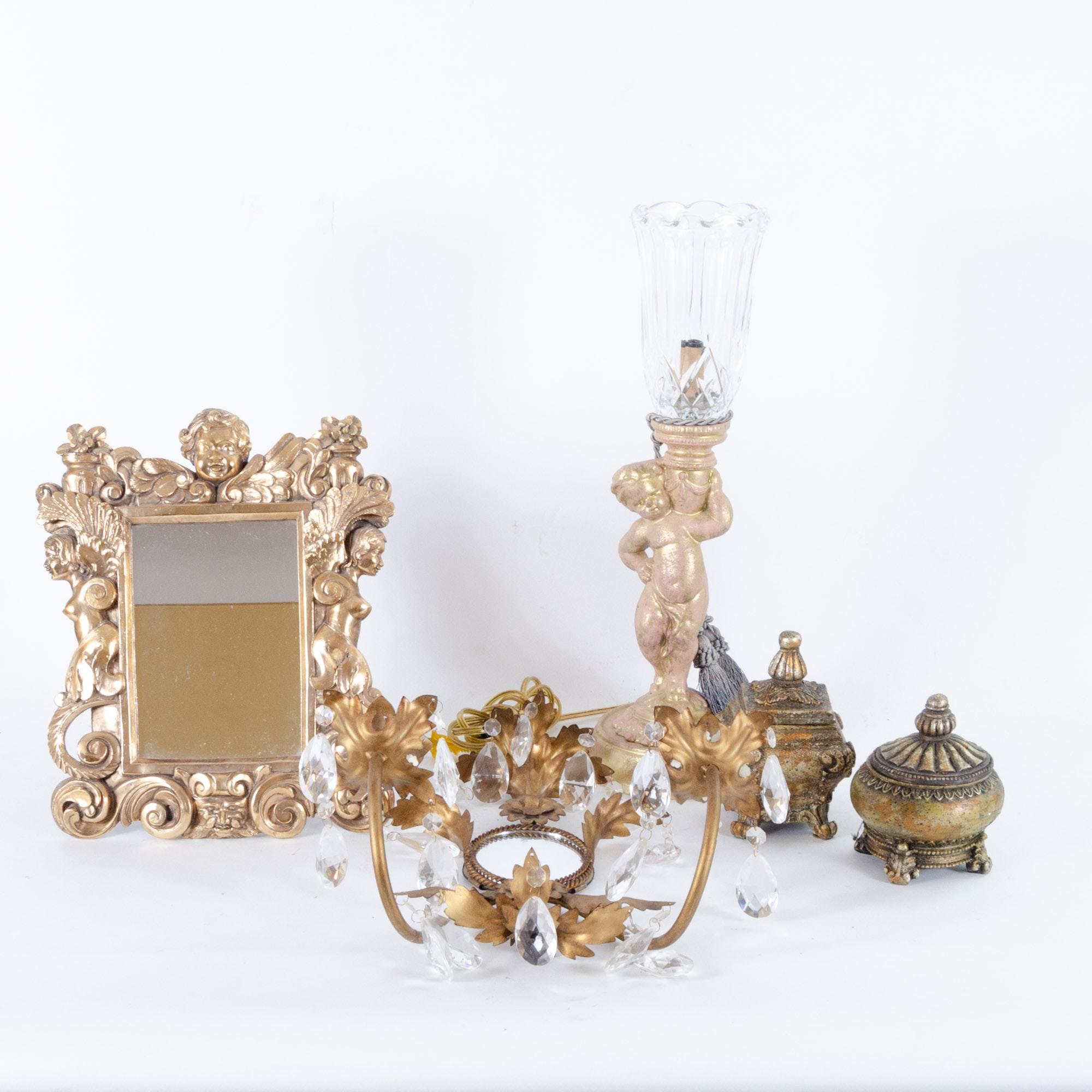 Baroque Style Gilt Wall Mirror and Decor