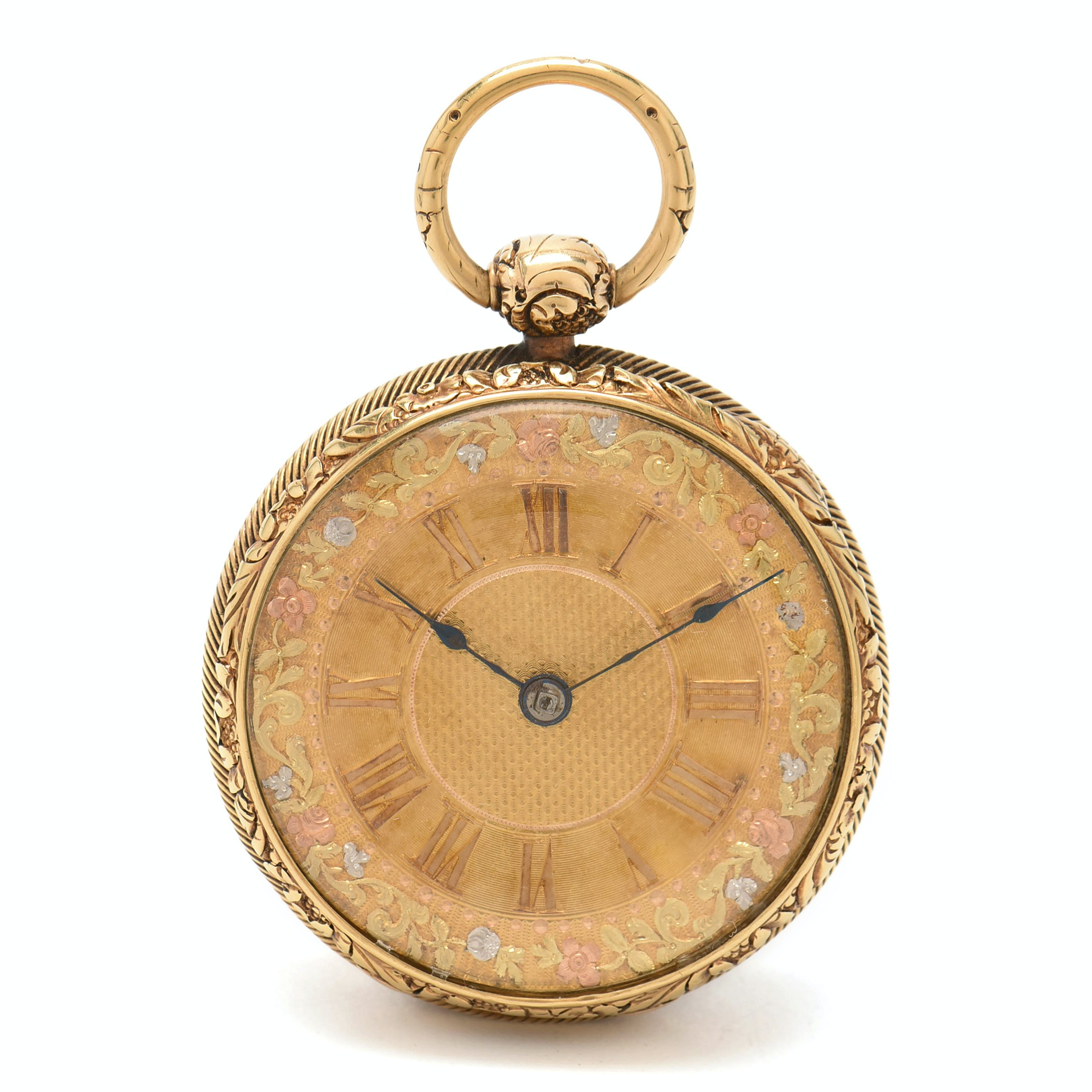 19th Century George Reynolds 18K Yellow Gold Fusee Pocket Watch