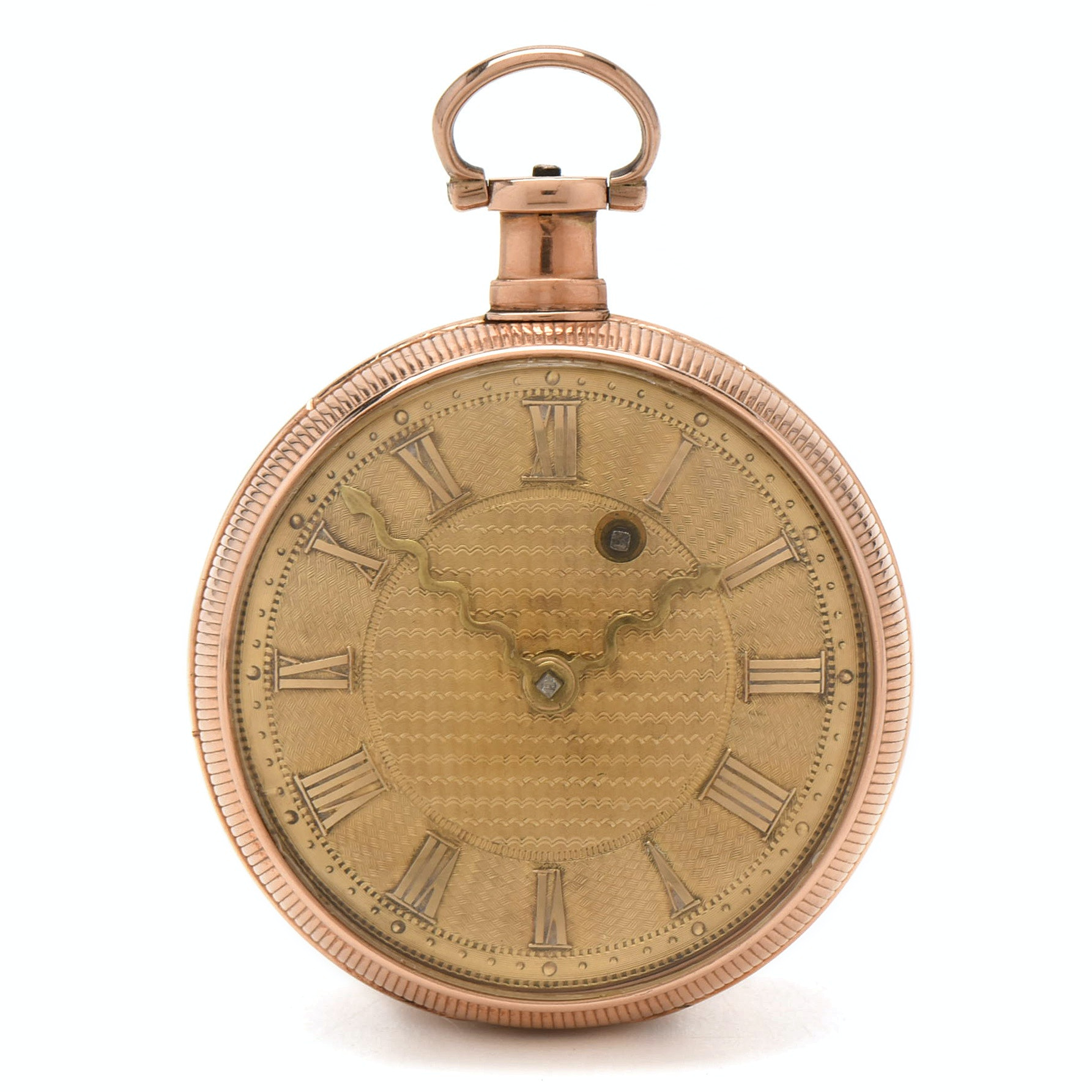 18K Rose and Yellow Gold Antique European Key Wind and Set Pocket Watch