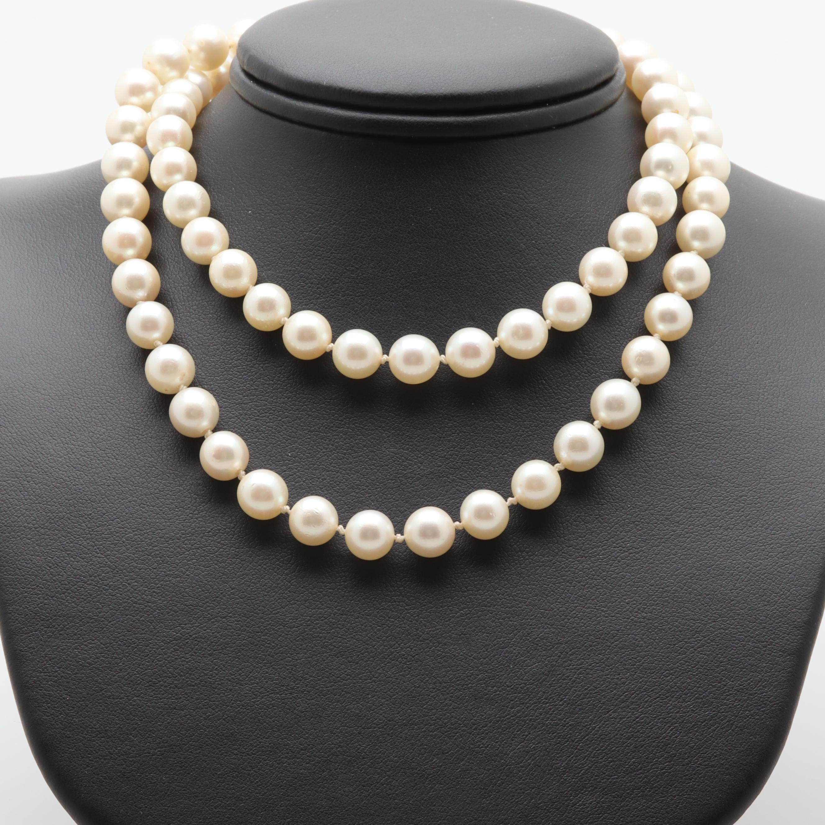10K and 14K White Gold Cultured Pearl Single Strand Necklace
