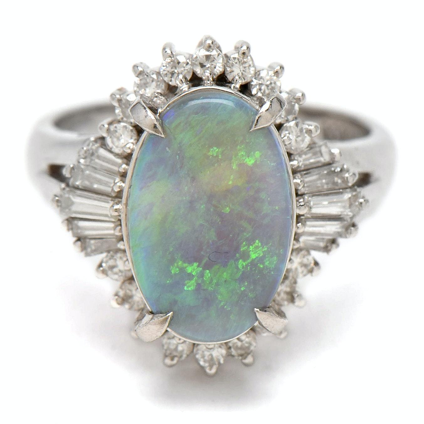 Platinum Opal and Diamond Ballerina Ring