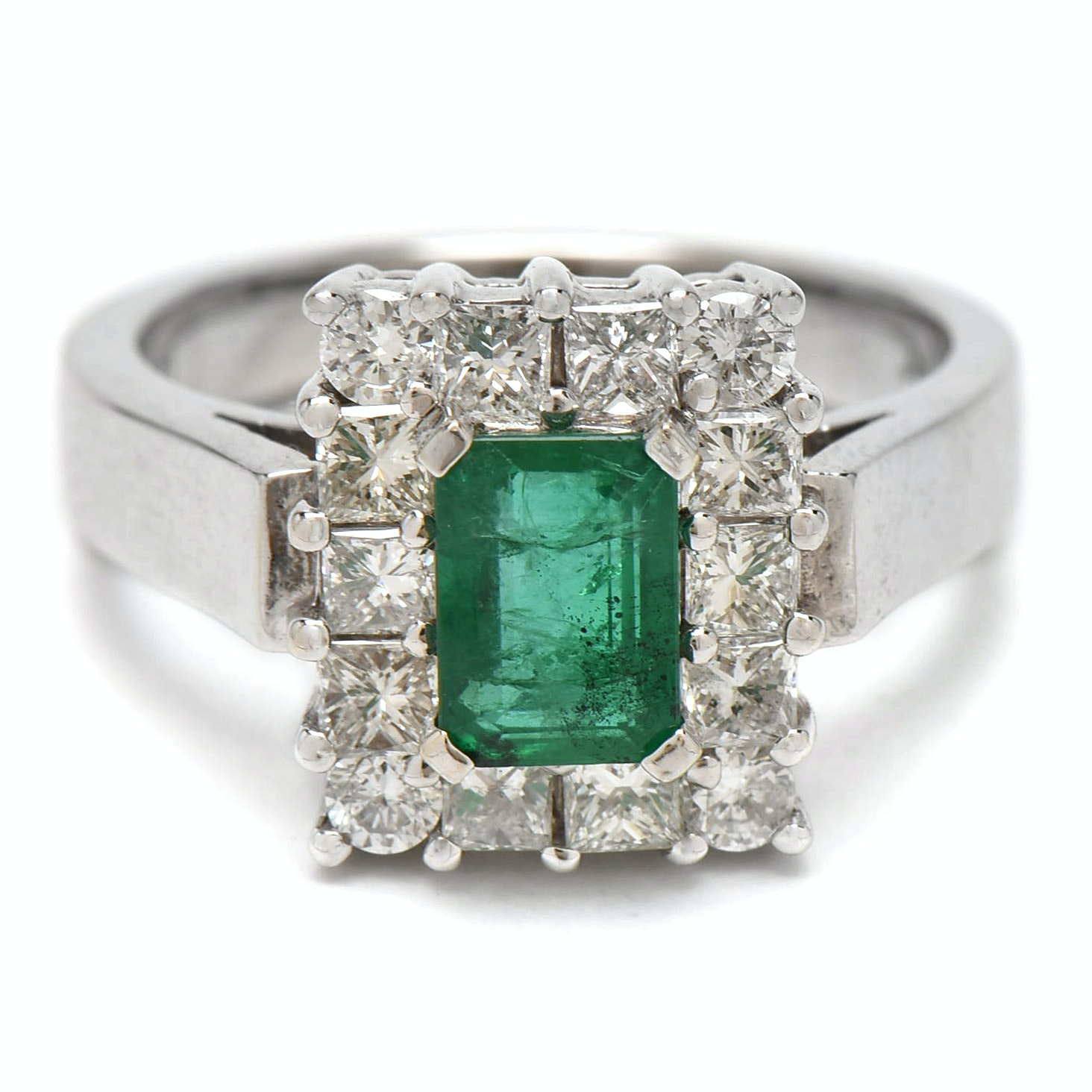 14K White Gold 0.79 CT Emerald and 1.24 CTW Diamond Ring