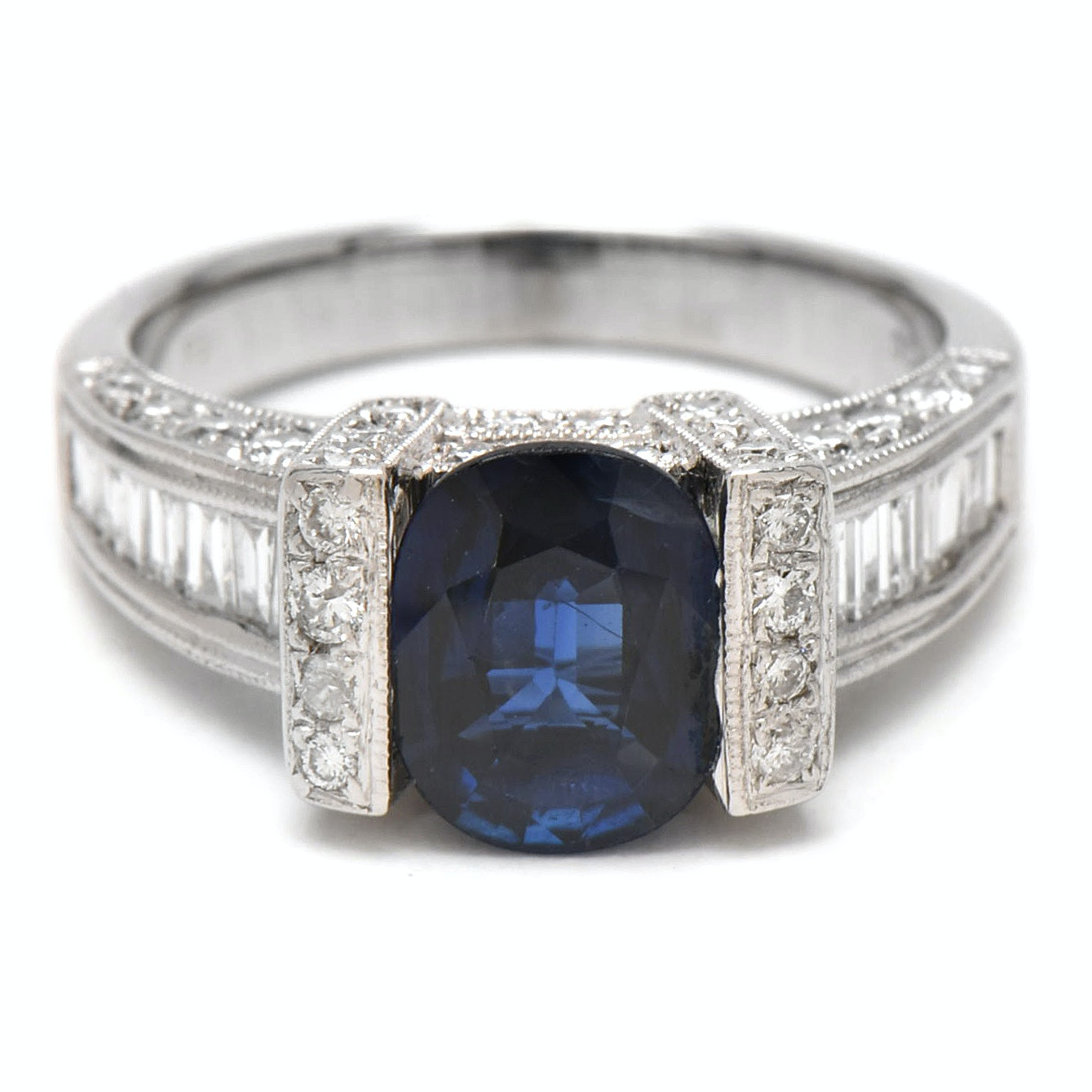 18K White Gold 1.75 CT Blue Sapphire and 1.51 CTW Diamond Ring