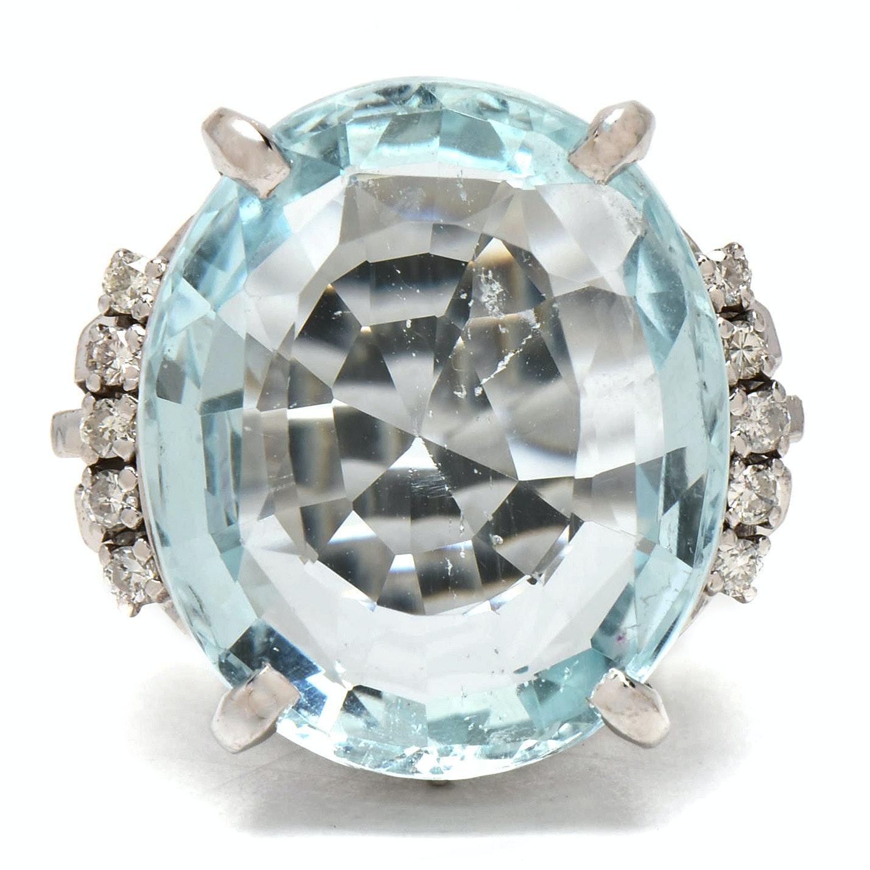 Vintage Platinum 12.02 CT Light Blue Aquamarine and Diamond Statement Ring