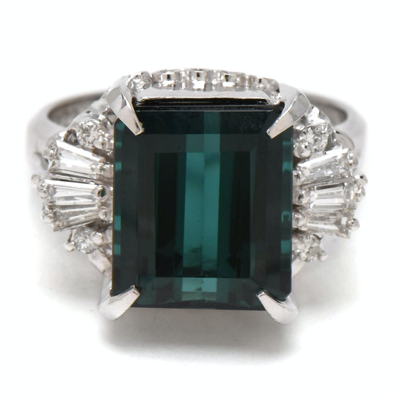 Vintage Platinum 5.09 CT Tourmaline and 0.29 CTW Diamond Ring