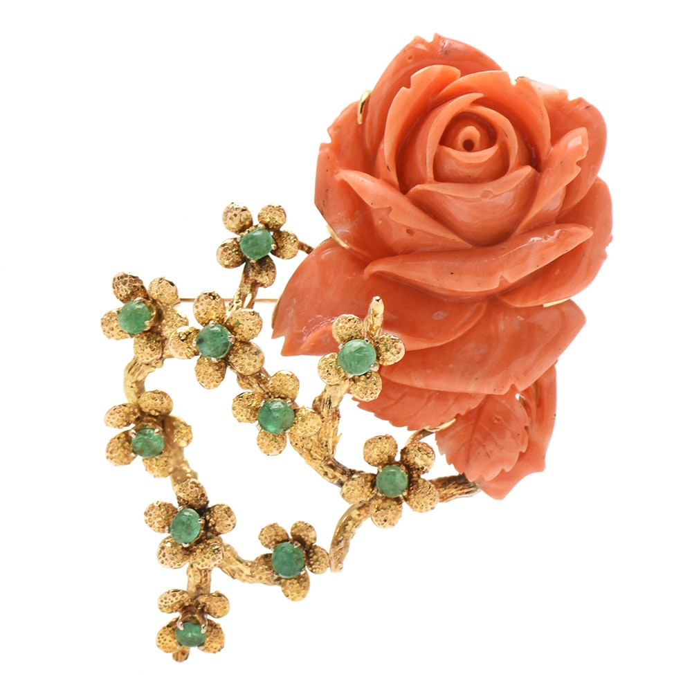 Vintage 14K Yellow Gold Carved Coral Rose and Emerald Brooch