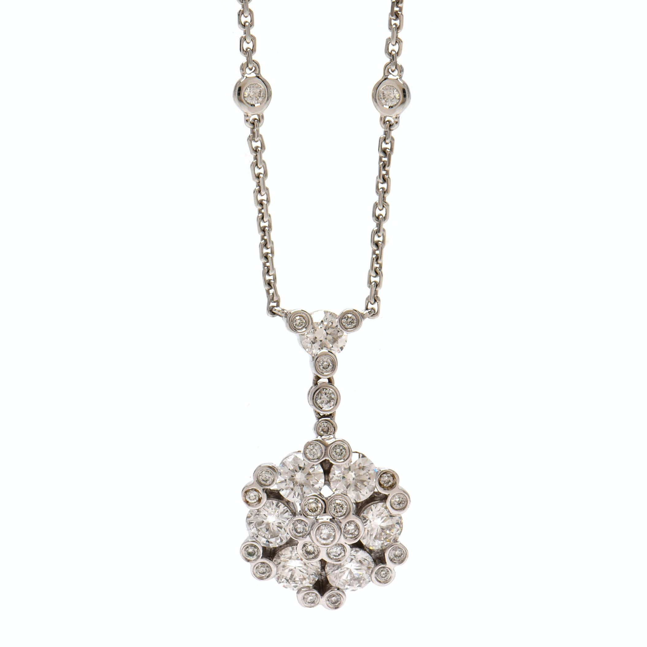 Gregg Ruth 18K White Gold 1.60 CTW Diamond Necklace