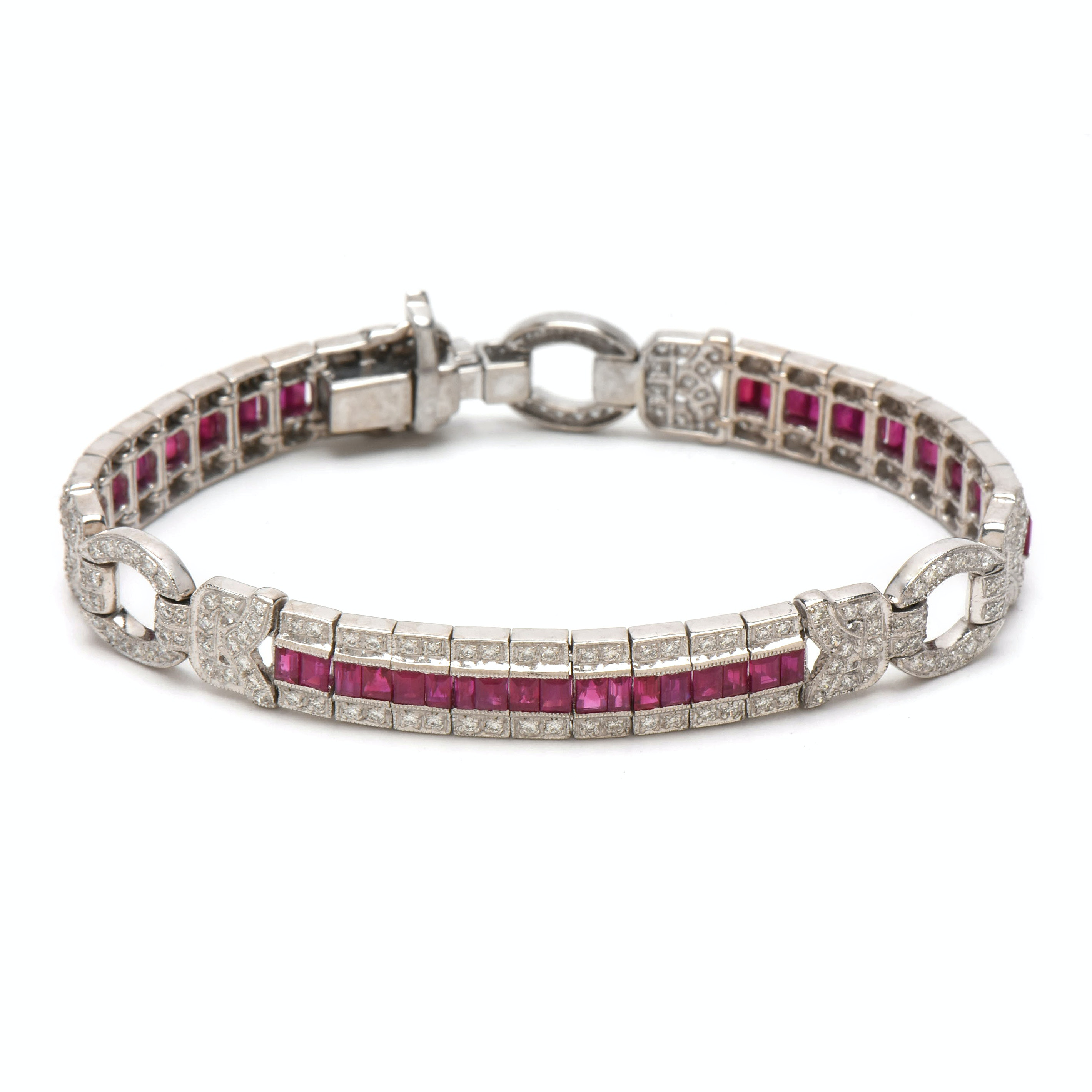 Art Deco Style 18K White Gold 5.50 CTW Ruby and Diamond Bracelet