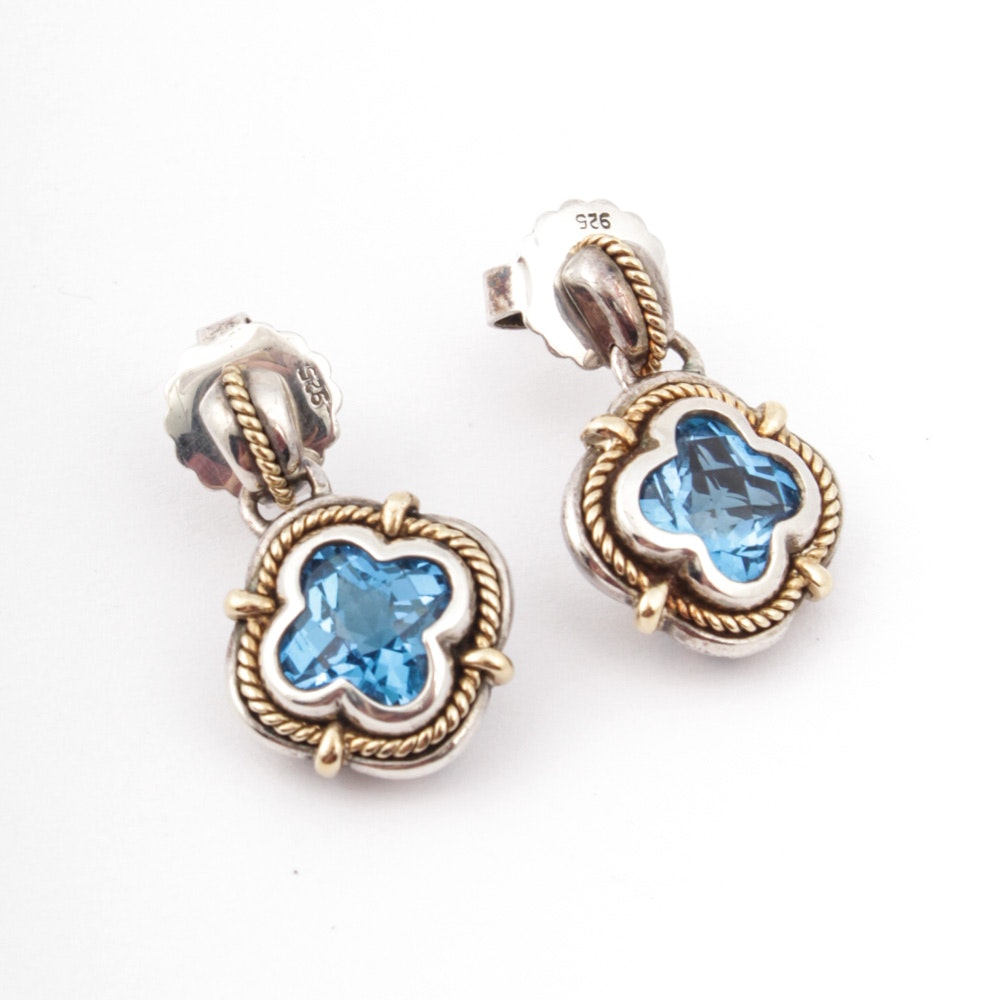 18K Yellow Gold Accented Sterling Silver and Blue Topaz Earrings
