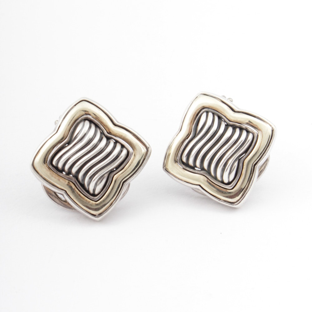 David Yurman Sterling Silver, 18K and 14K Yellow Gold Earrings