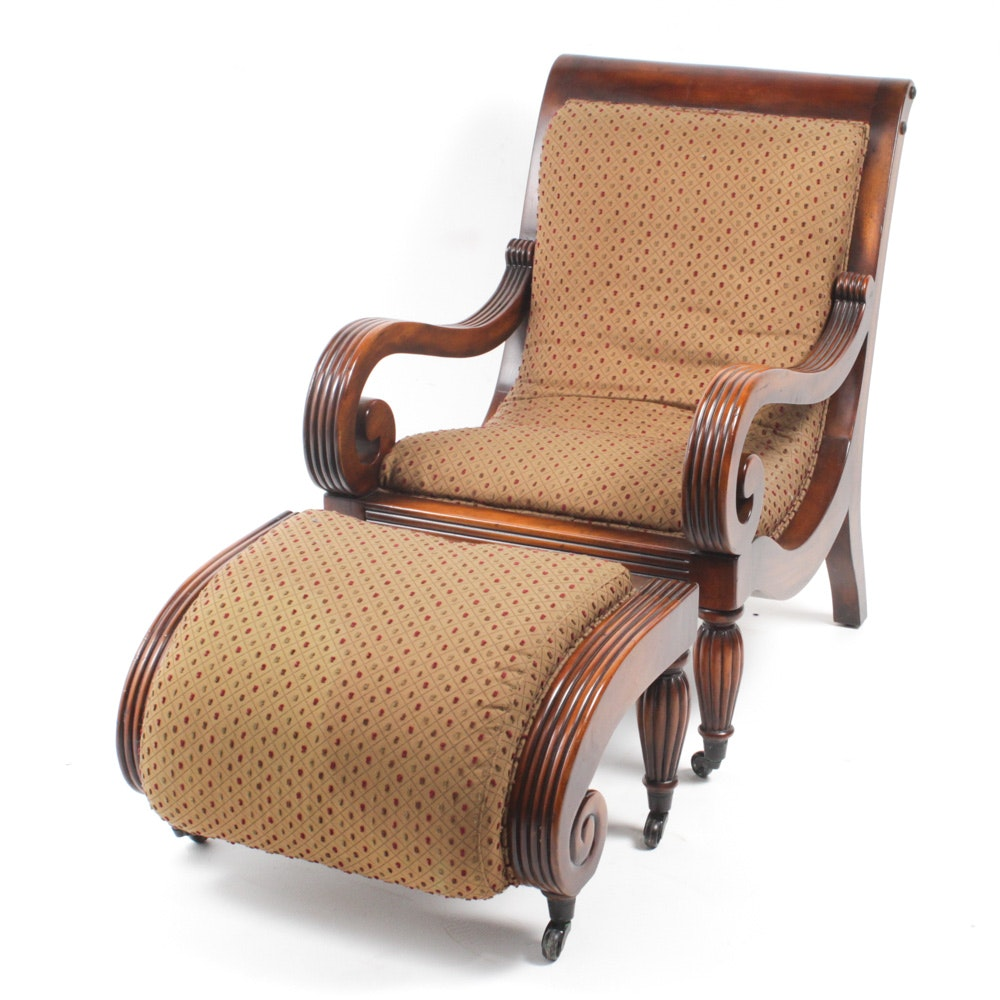 Vintage Empire Style Walnut Armchair with Ottoman by Sherrill
