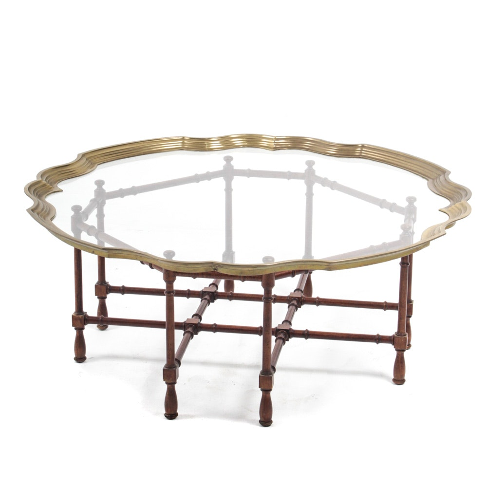 LaBarge Coffee Table in Brass, Glass, and Wood
