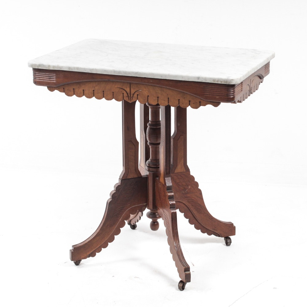 Antique Eastlake Marble-Top Table in Walnut