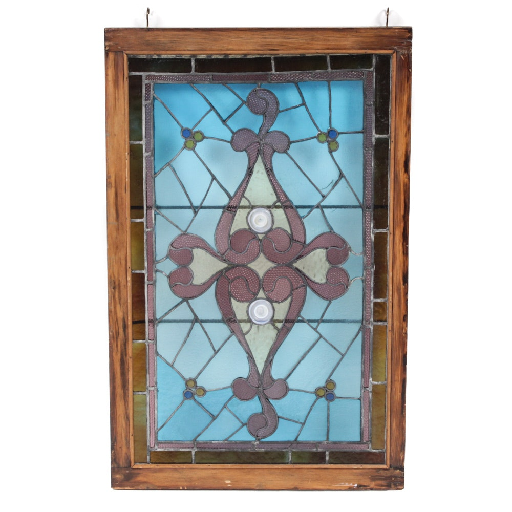 Late 19th Century Stained Glass Window Panel