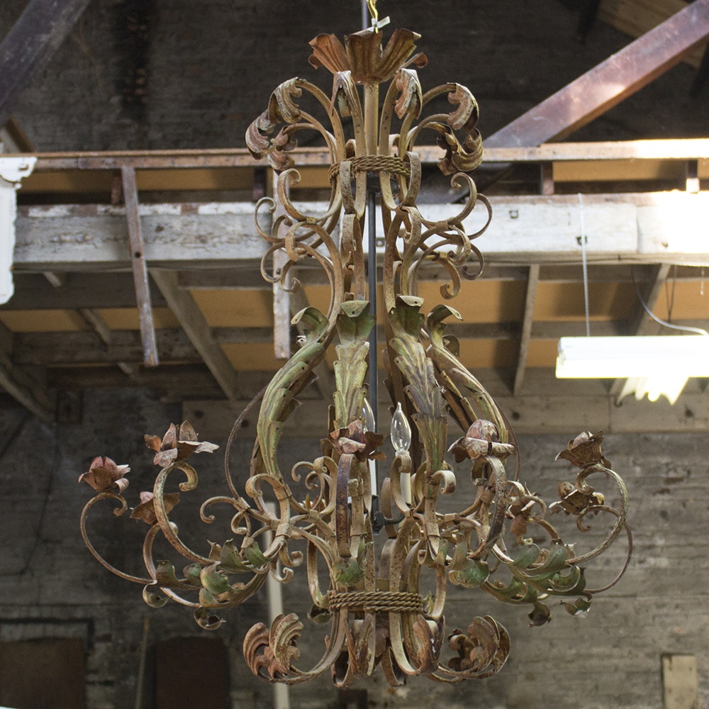 French Rococo Style Painted Three Light Chandelier