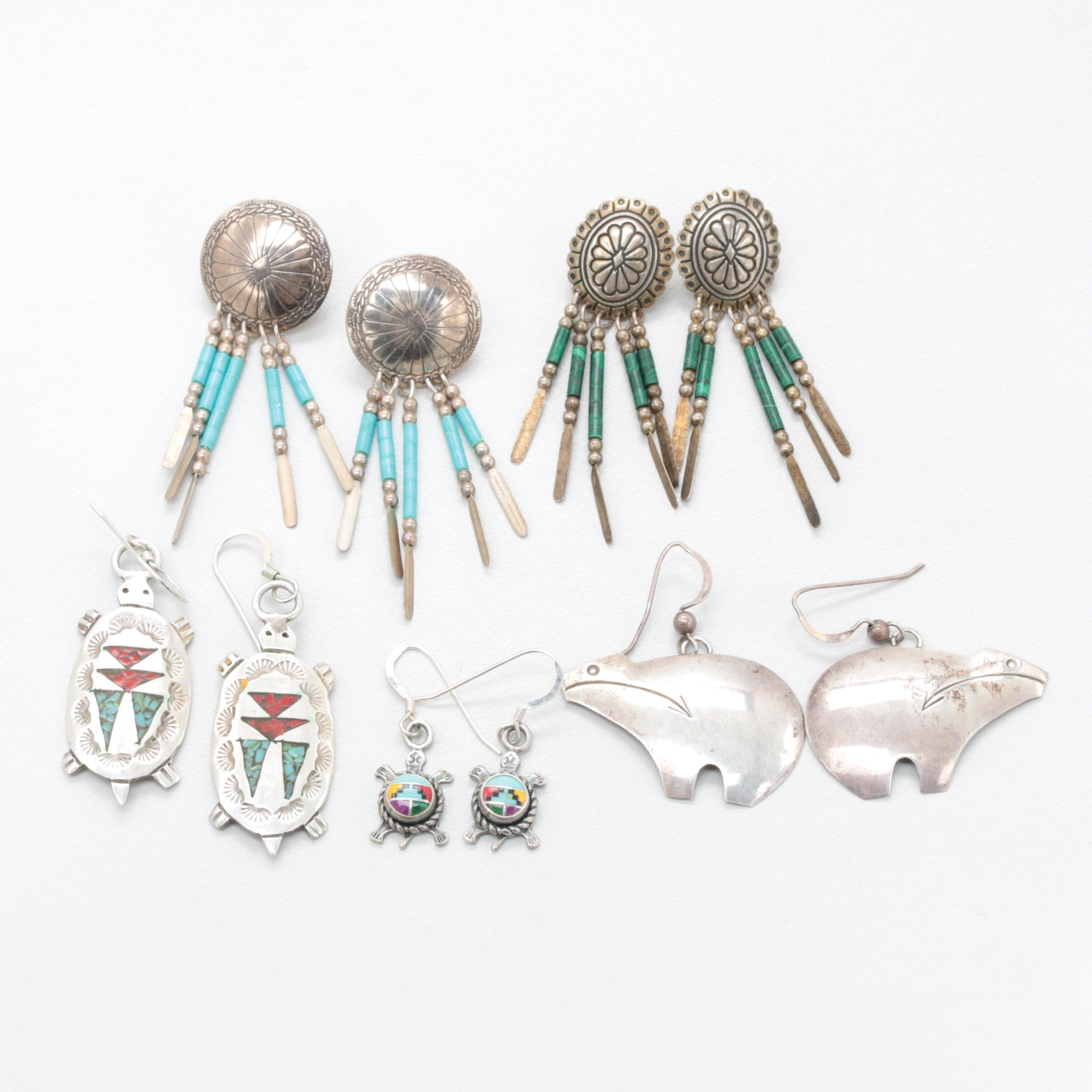 Collection of Sterling Silver Earrings Including Imitation Turquoise