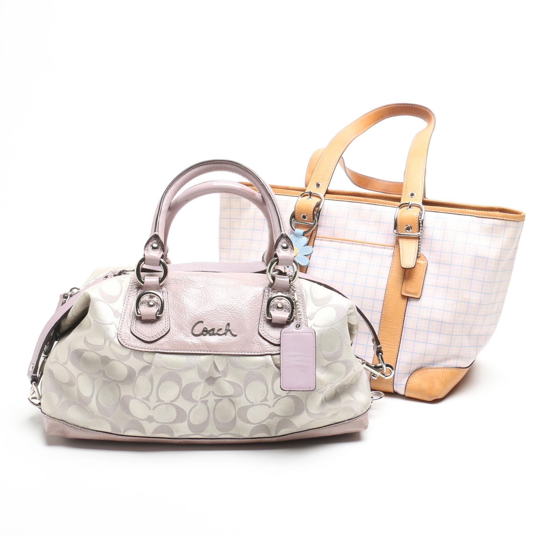 Coach Hampton Plaid Market Tote and Ashley Signature Satin Satchel