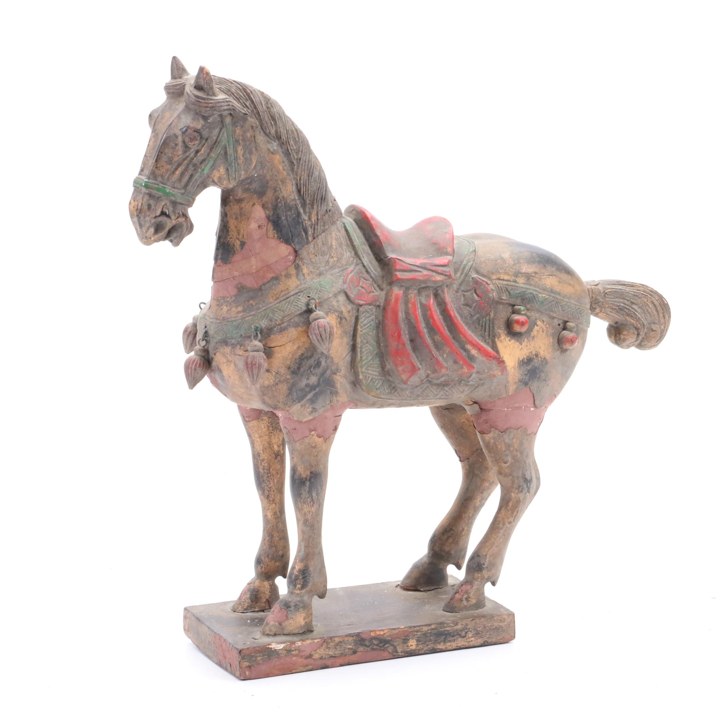 Chinese Tang Dynasty Inspired Carved and Painted Wooden Horse