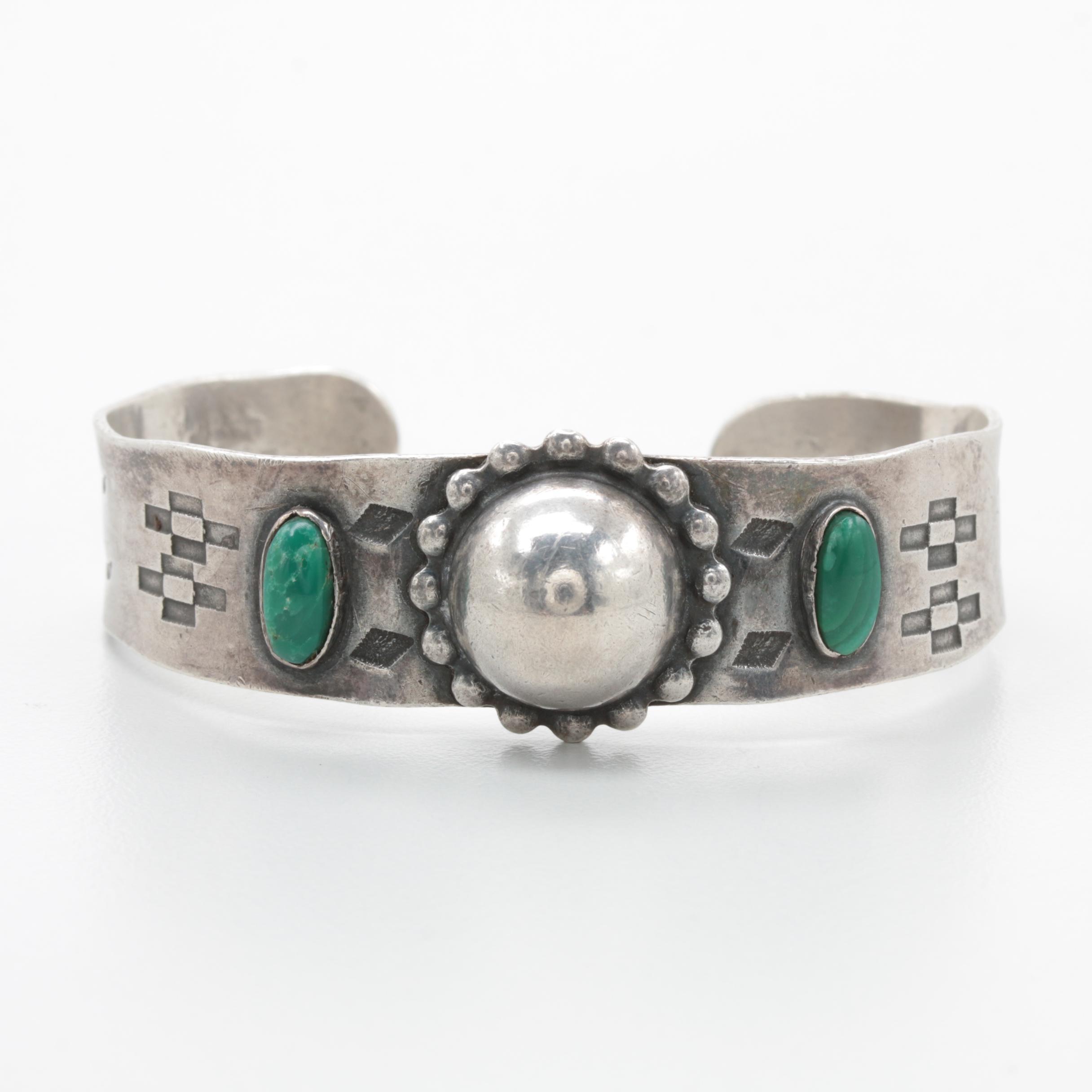 Vintage Southwestern Style Sterling Silver Chrysocolla Cuff Bracelet