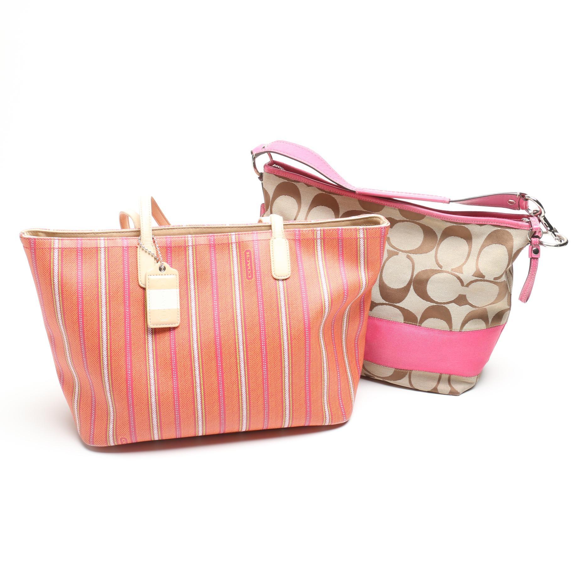 Coach Legacy Weekend Ticking Stripe Tote Bag and Signature Stripe Shoulder Bag