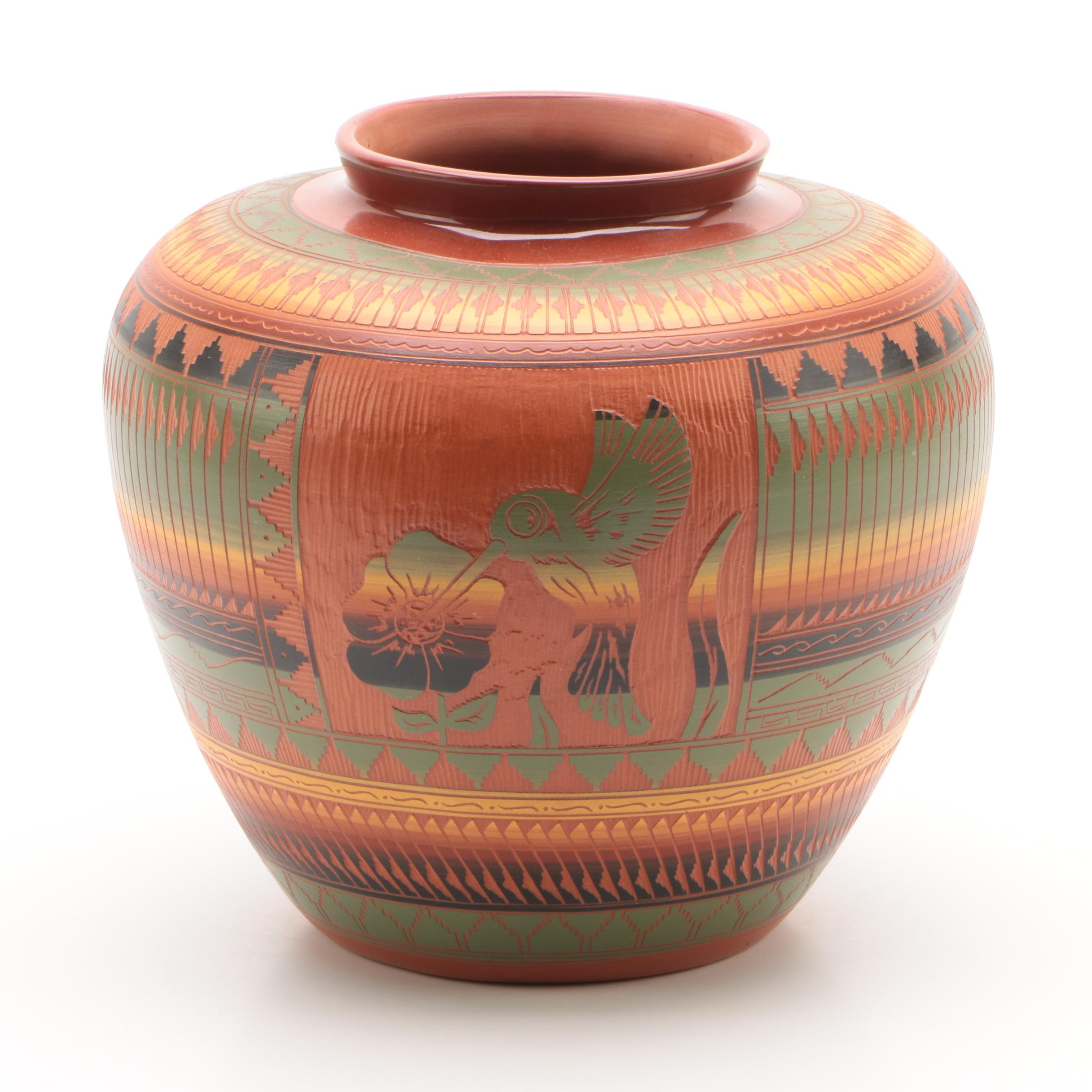 W. Johnson Jr.  Navajo Sgraffito Earthenware Vase