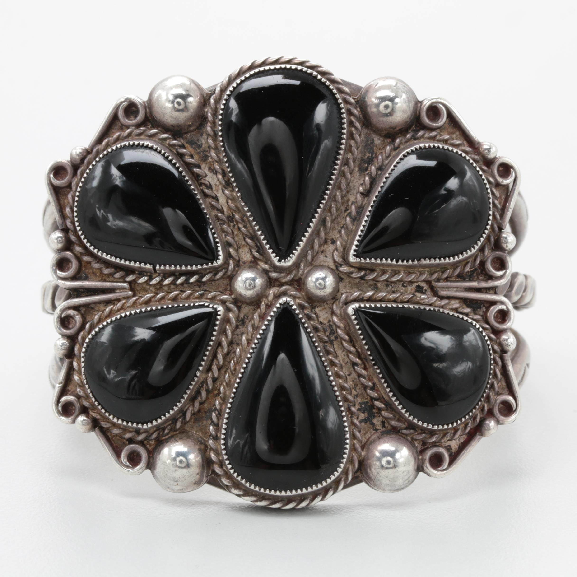 Southwestern Style Sterling Silver Black Onyx Cuff Bracelet