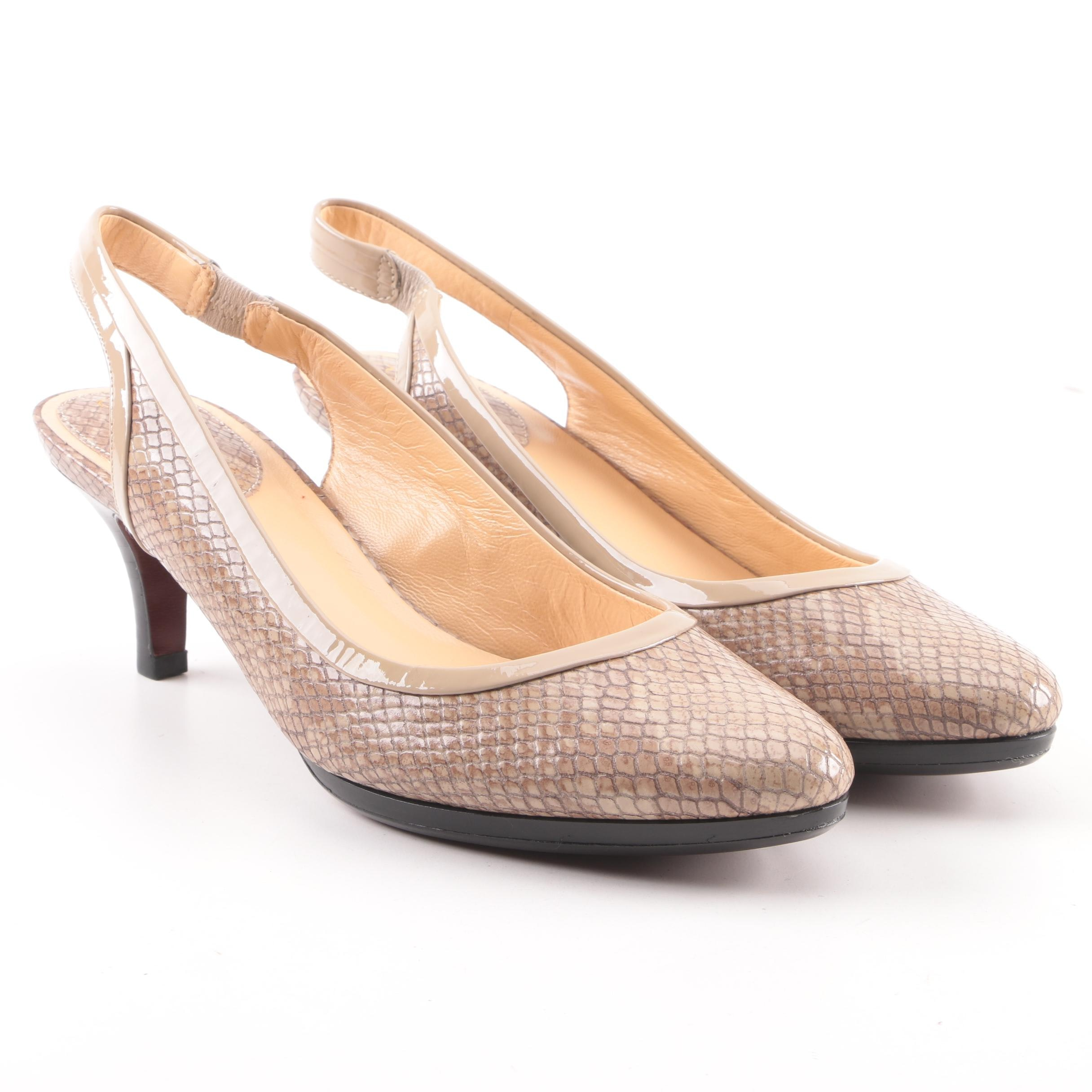 Cole Haan Nike Air Snakeskin Embossed Leather Slingbacks