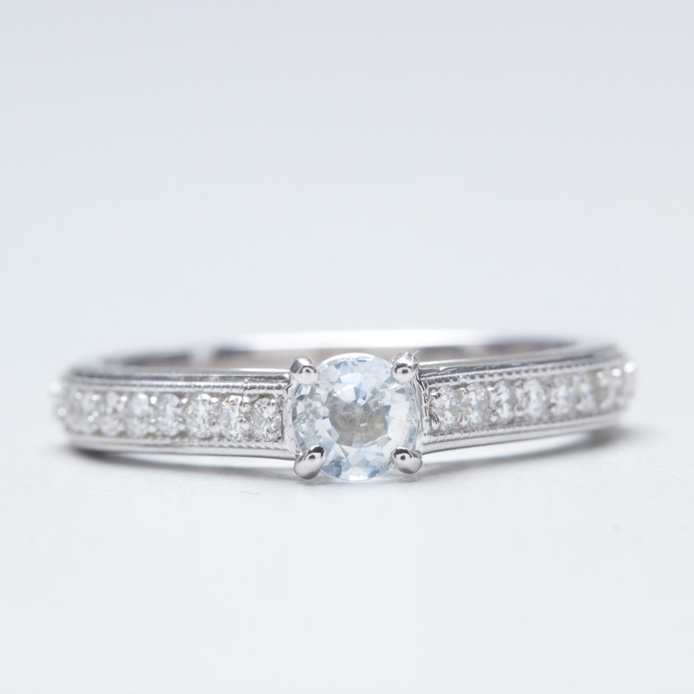 14K White Gold White Sapphire and Diamond Ring
