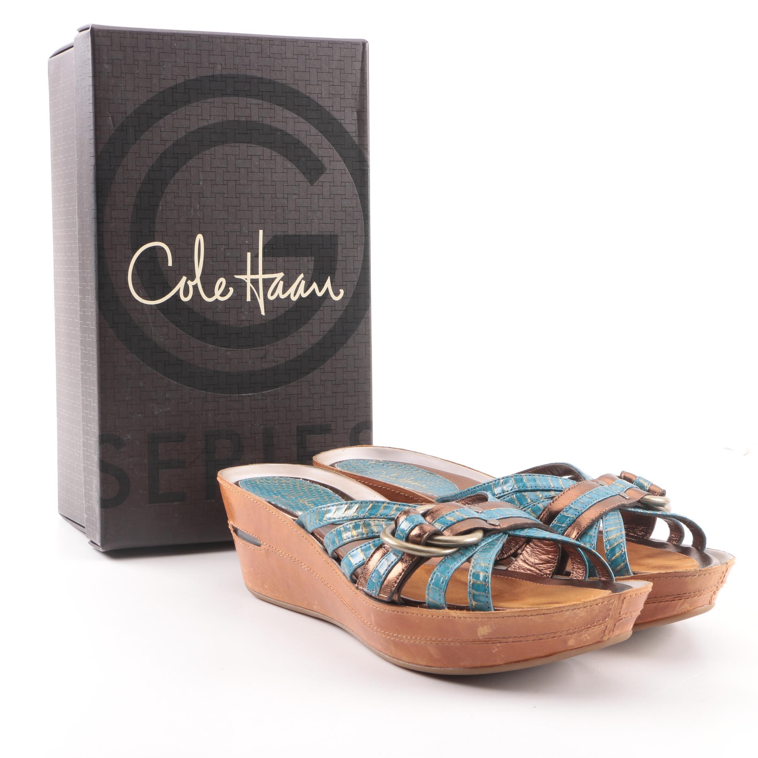 Cole Haan Air Brylee Snakeskin Embossed Leather Platform Wedge Slide Sandals