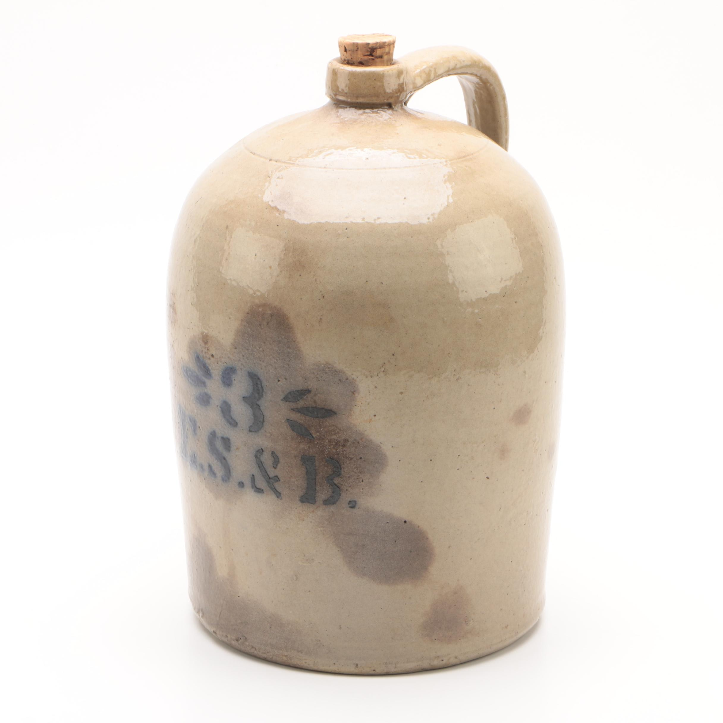 Elverson, Sherwood & Barker Three-Gallon Stoneware Jug