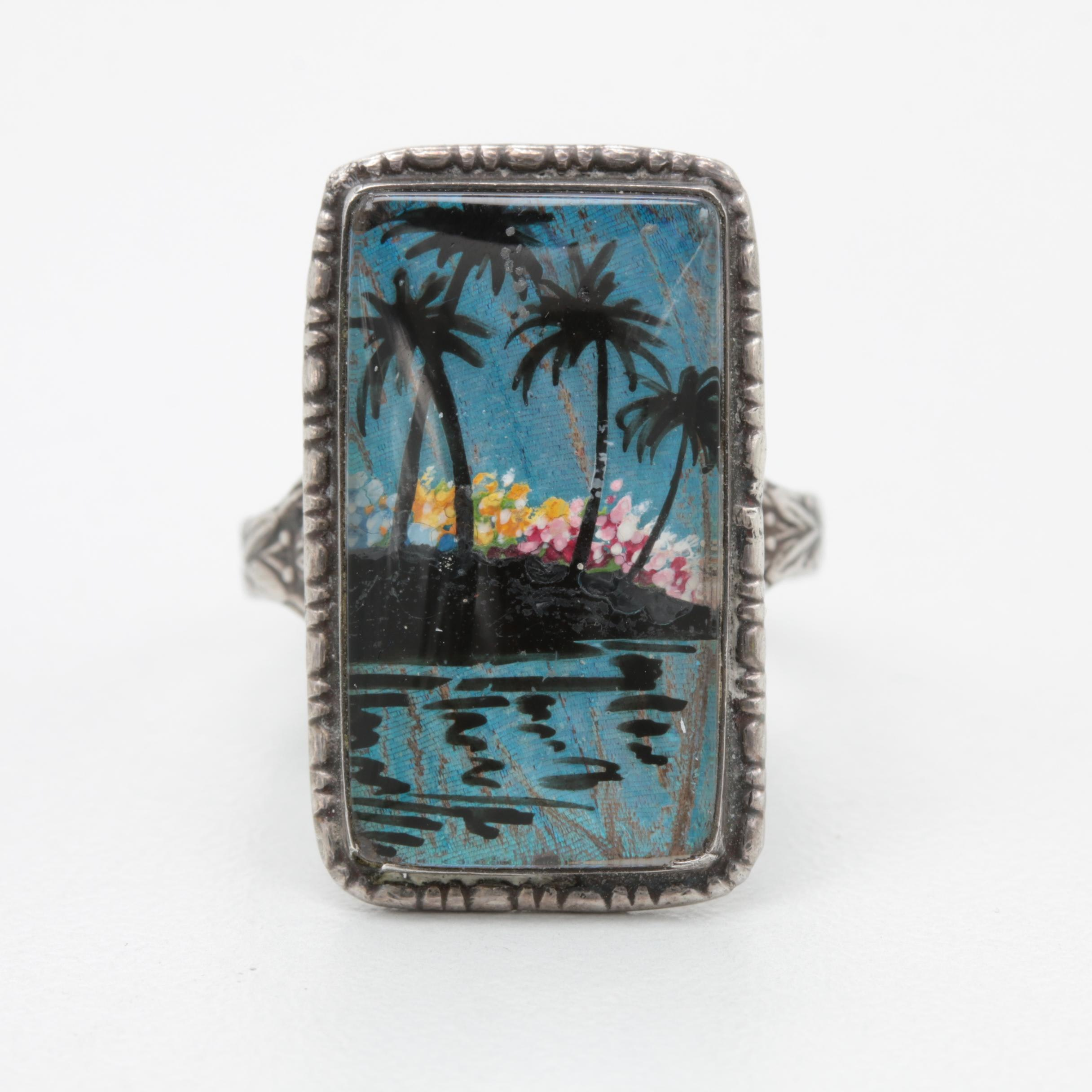 Sterling Reverse Painted Butterfly Wing and Glass Tropical Theme Ring