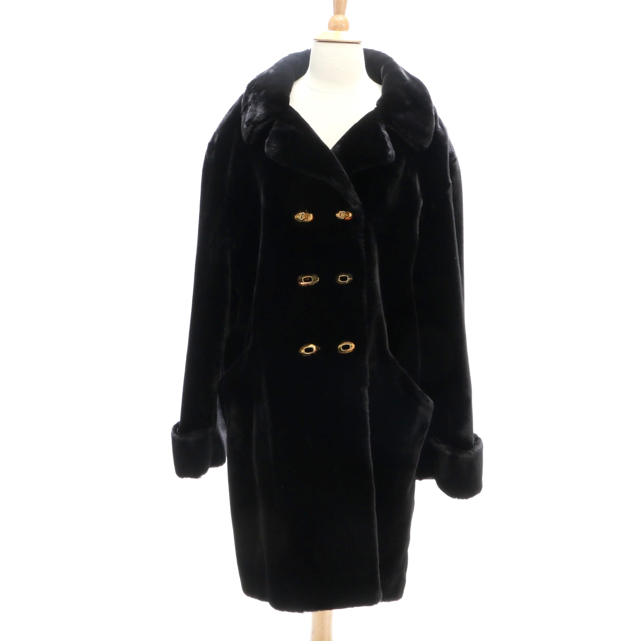 St. John Double-Breasted Black Faux Fur Coat
