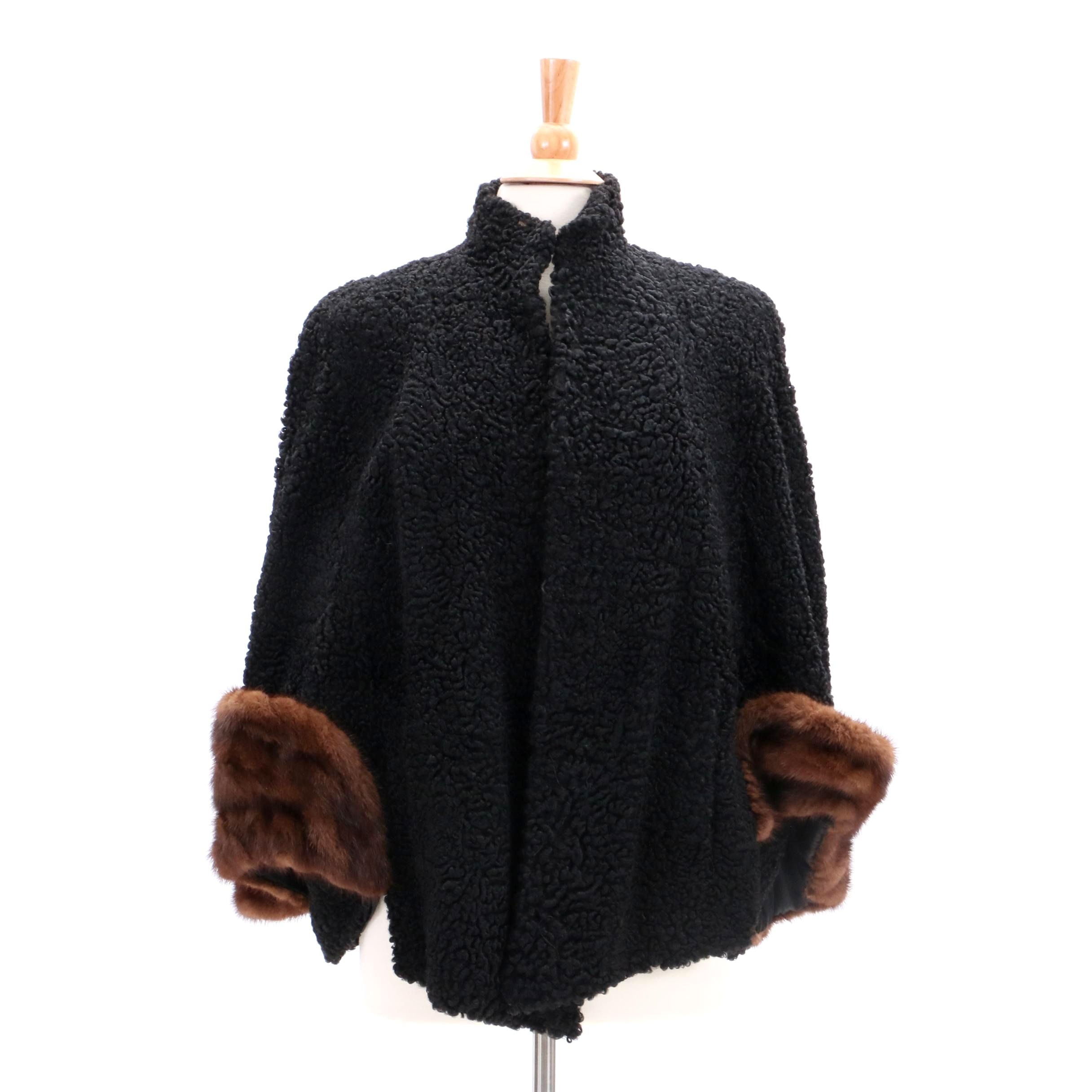 Vintage Stanley Rich Black Persian Lamb Cape with Muskrat Fur Accents