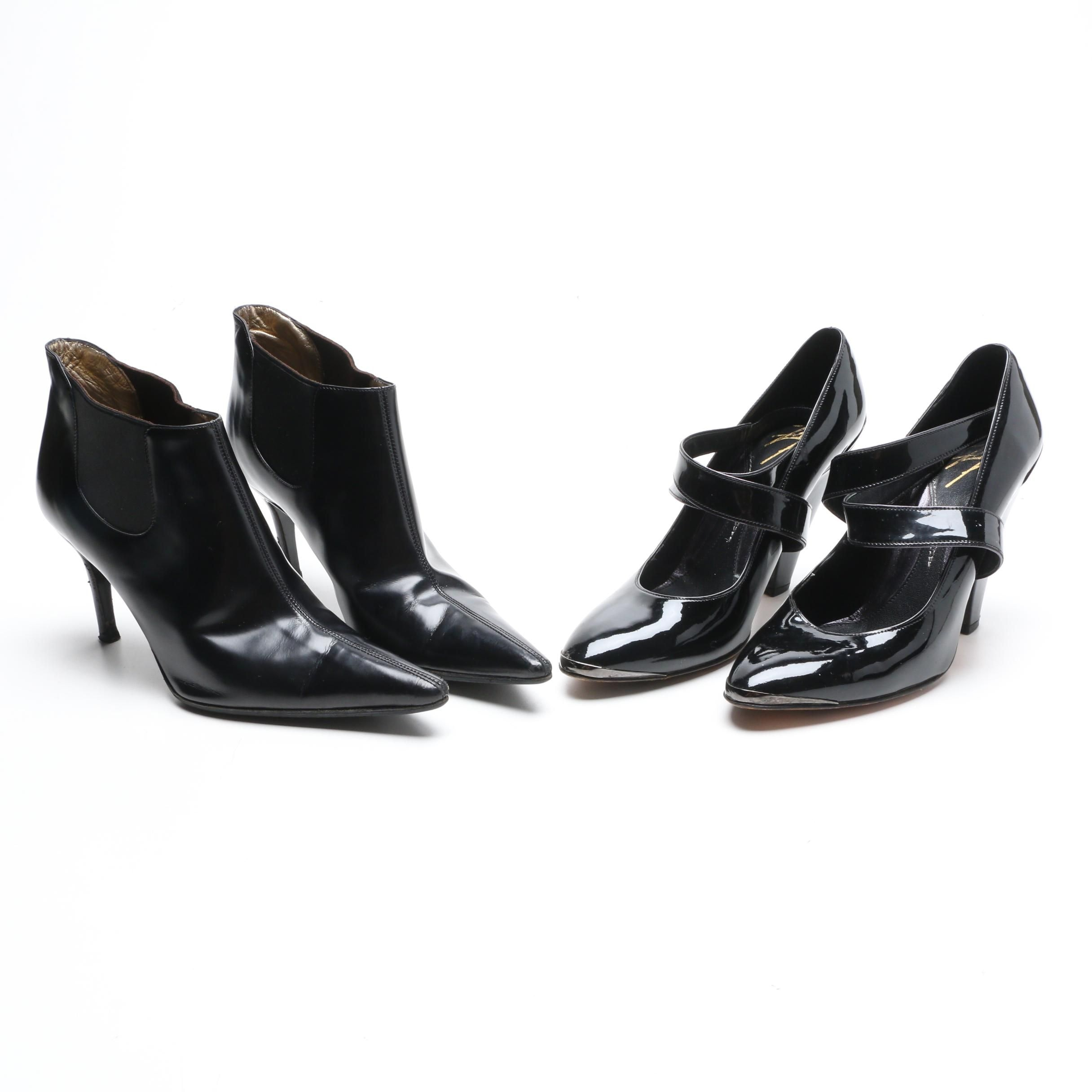 Dolce & Gabbana and Zac Posen Black Leather Heels