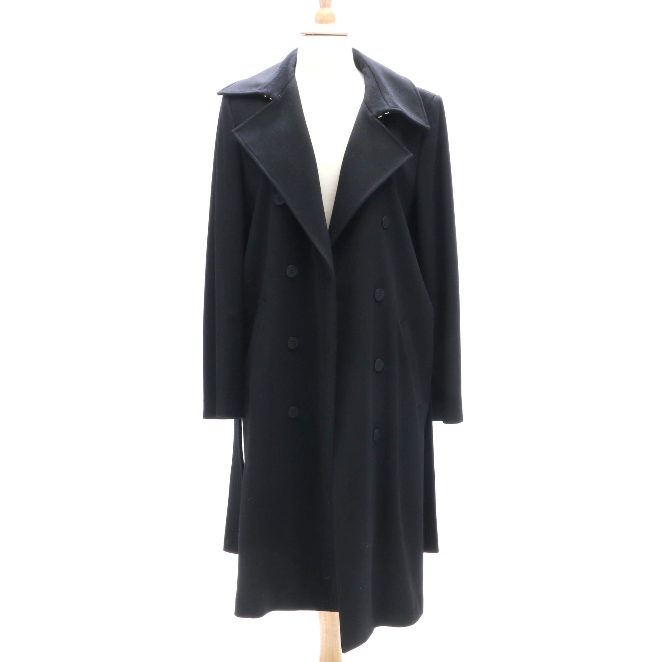 Les Copains Black Wool Double-Breasted Trench Coat