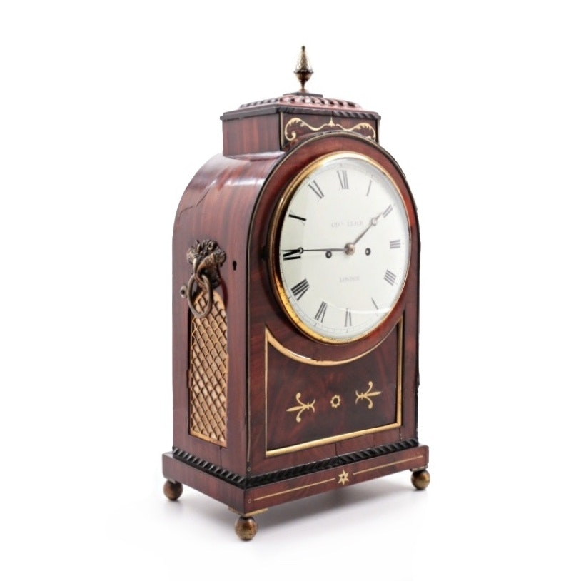Regency Brass-Inlaid Mahogany and Ebony Bracket Clock, Circa 1815