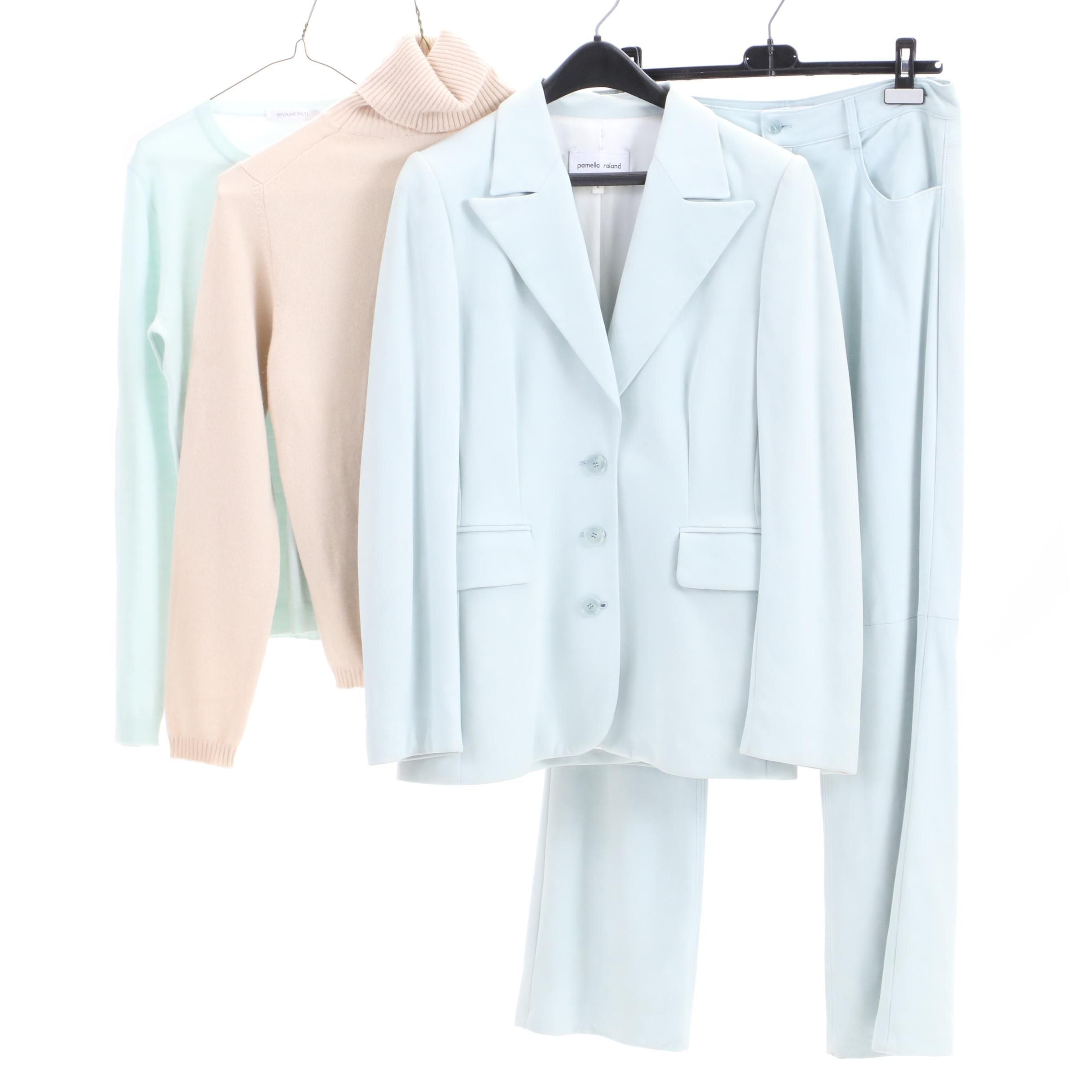 Pamella Roland Leather Suit with Wool and Cashmere Sweaters