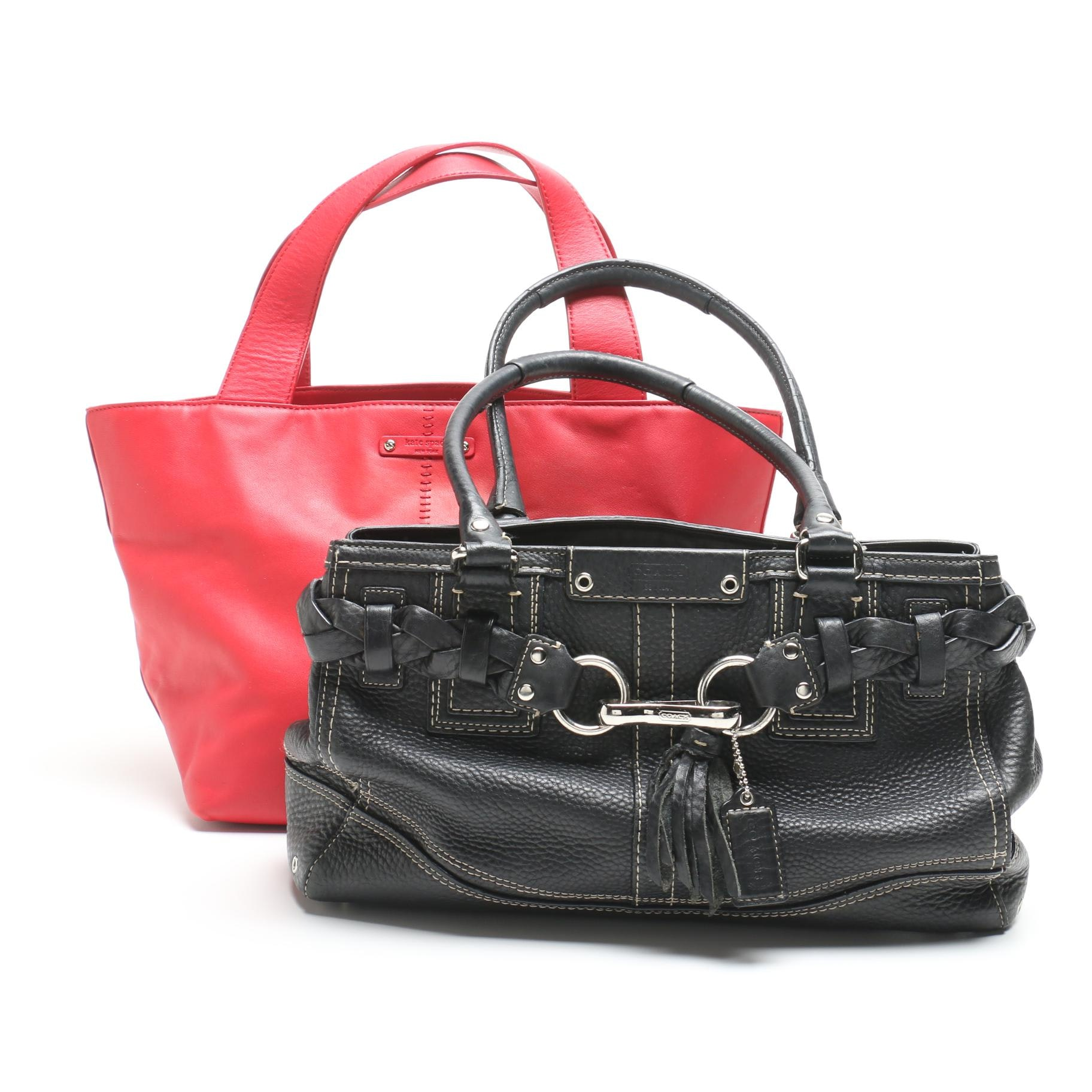 Kate Spade New York Red Leather Tote and Coach Pebbled Leather Hampton Carryall