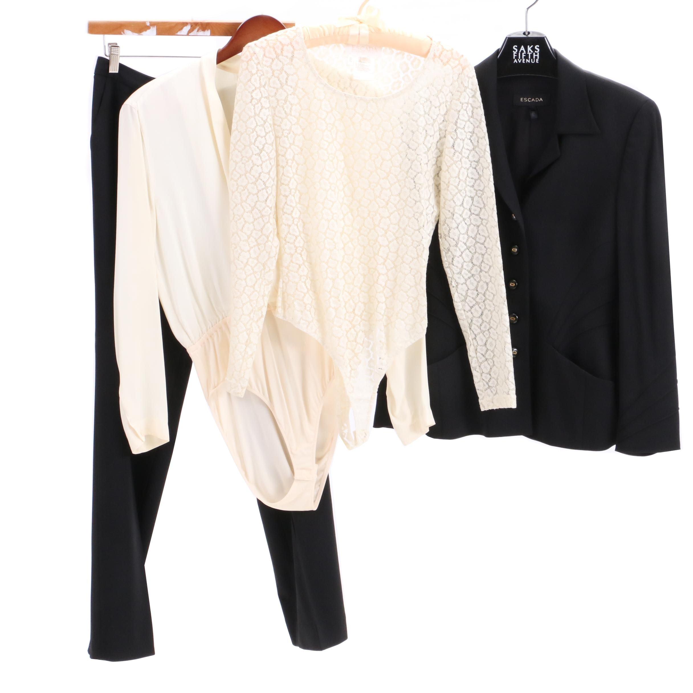 Escada Black Wool Blend Pantsuit with Bodysuits