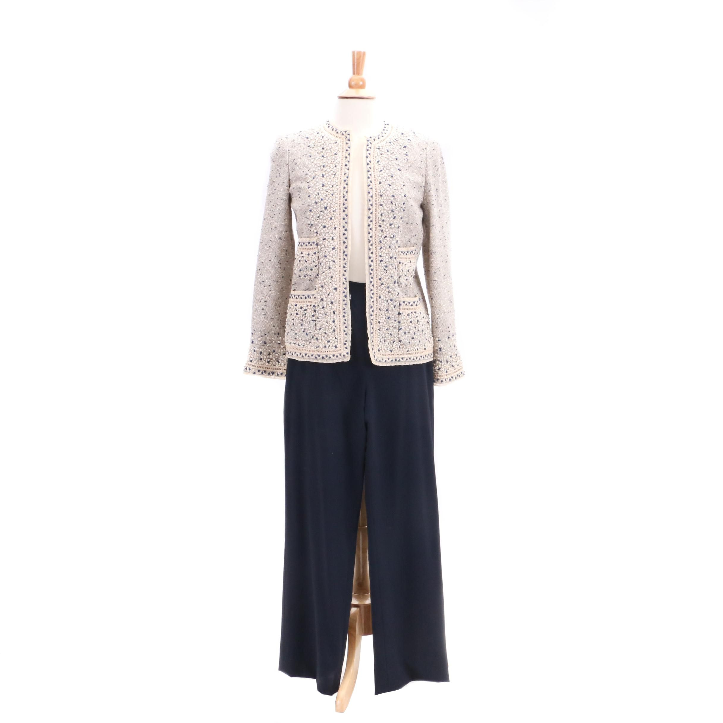 Oscar de la Renta Bouclé Jacket and Wool Trousers