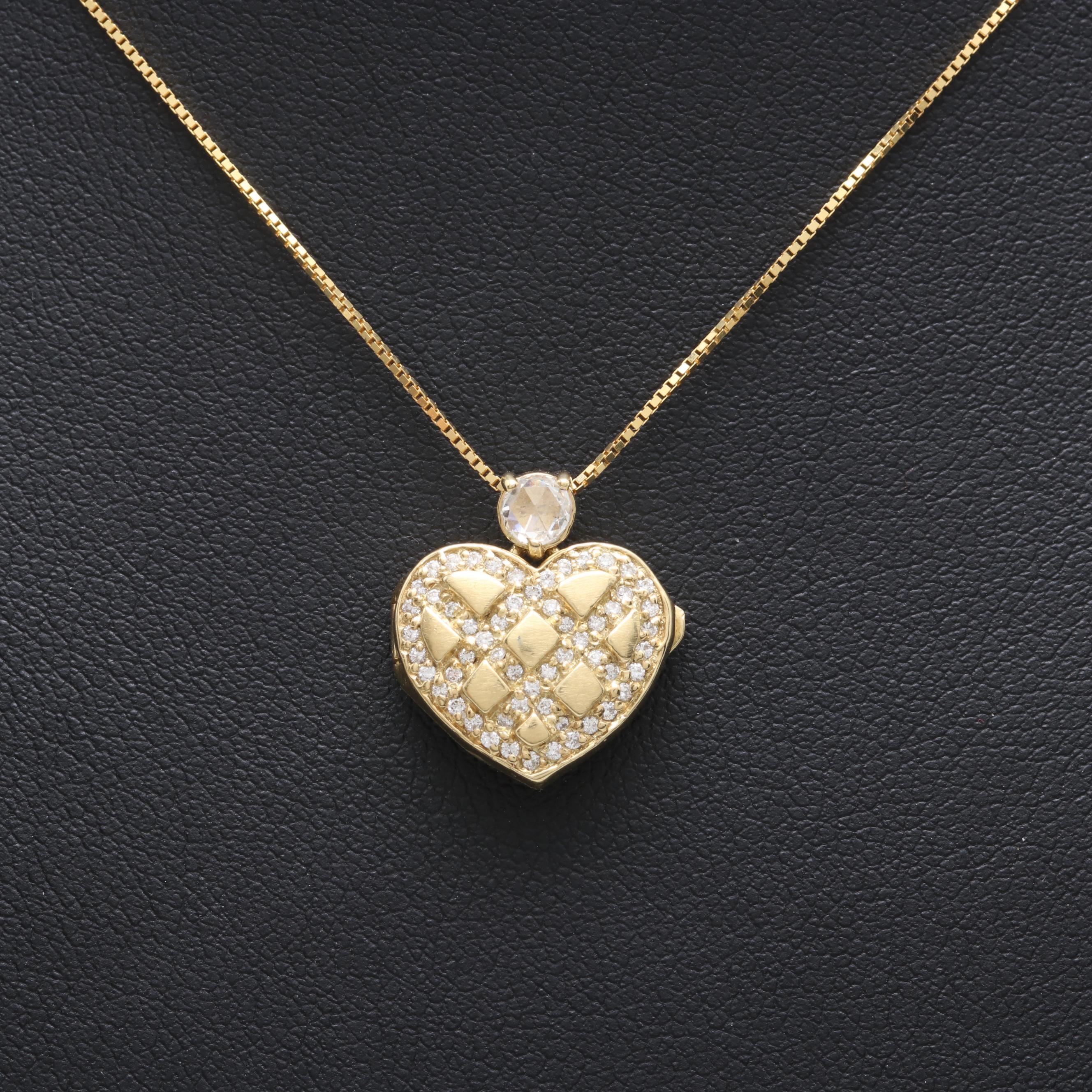 14K Yellow Gold Diamond Heart Locket Necklace