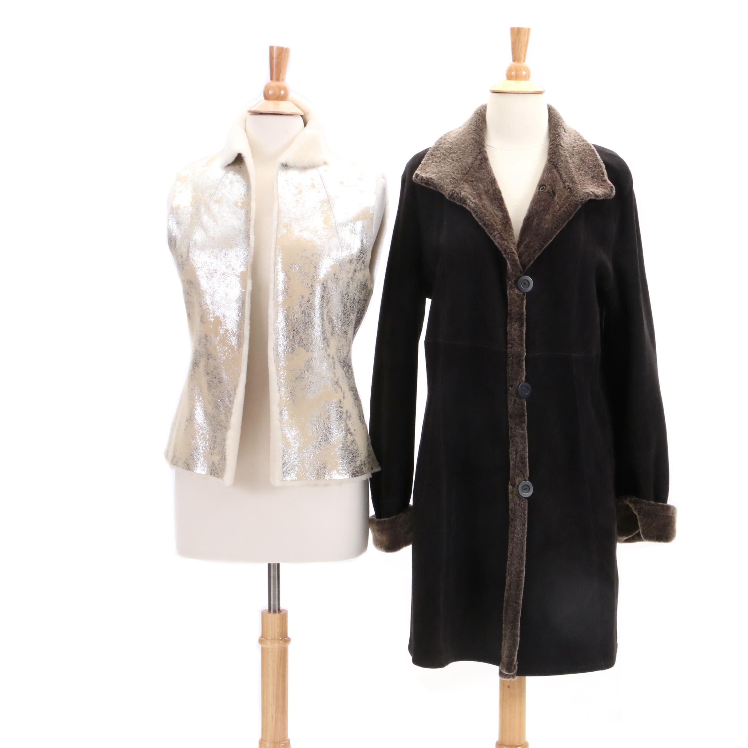 Tory Burch Shearling Vest and Blue Duck Sheepskin Coat