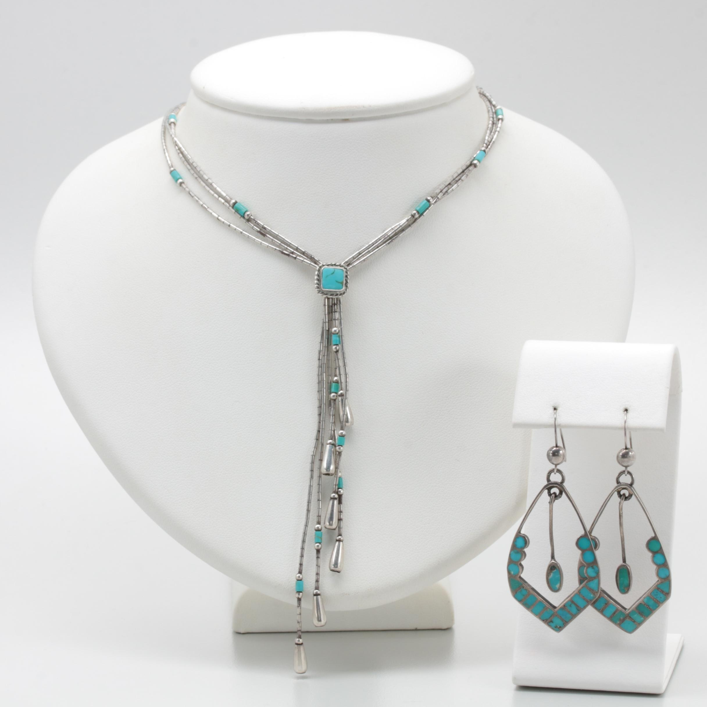 Sterling Silver Howlite and Turquoise Necklace and Earrings
