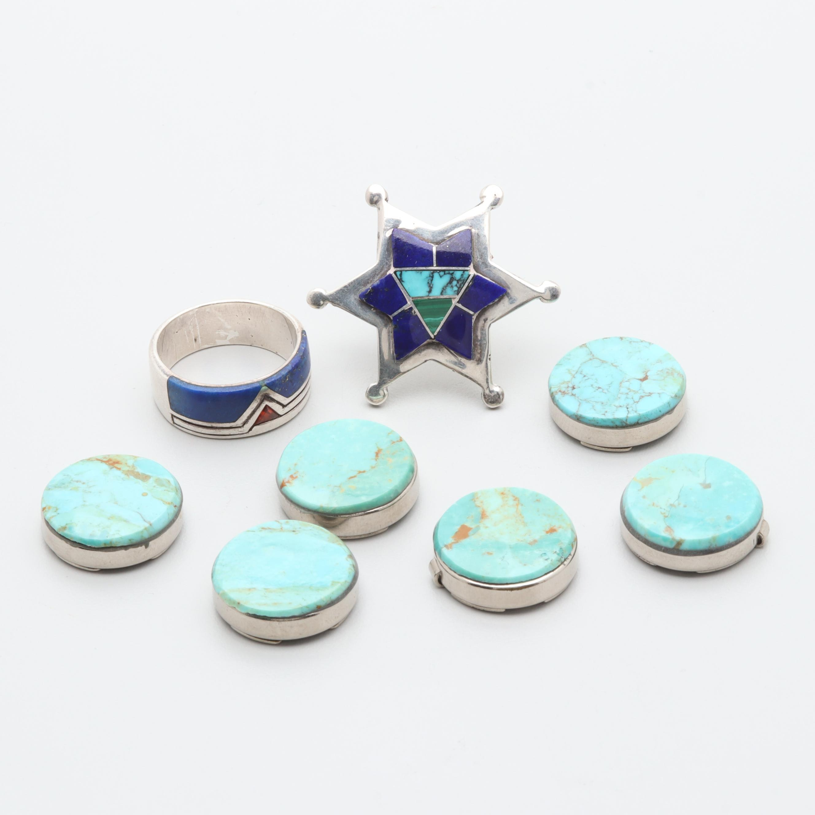 Southwestern Style Sterling Silver Lapis Lazuli and Turquoise Jewelry Selection
