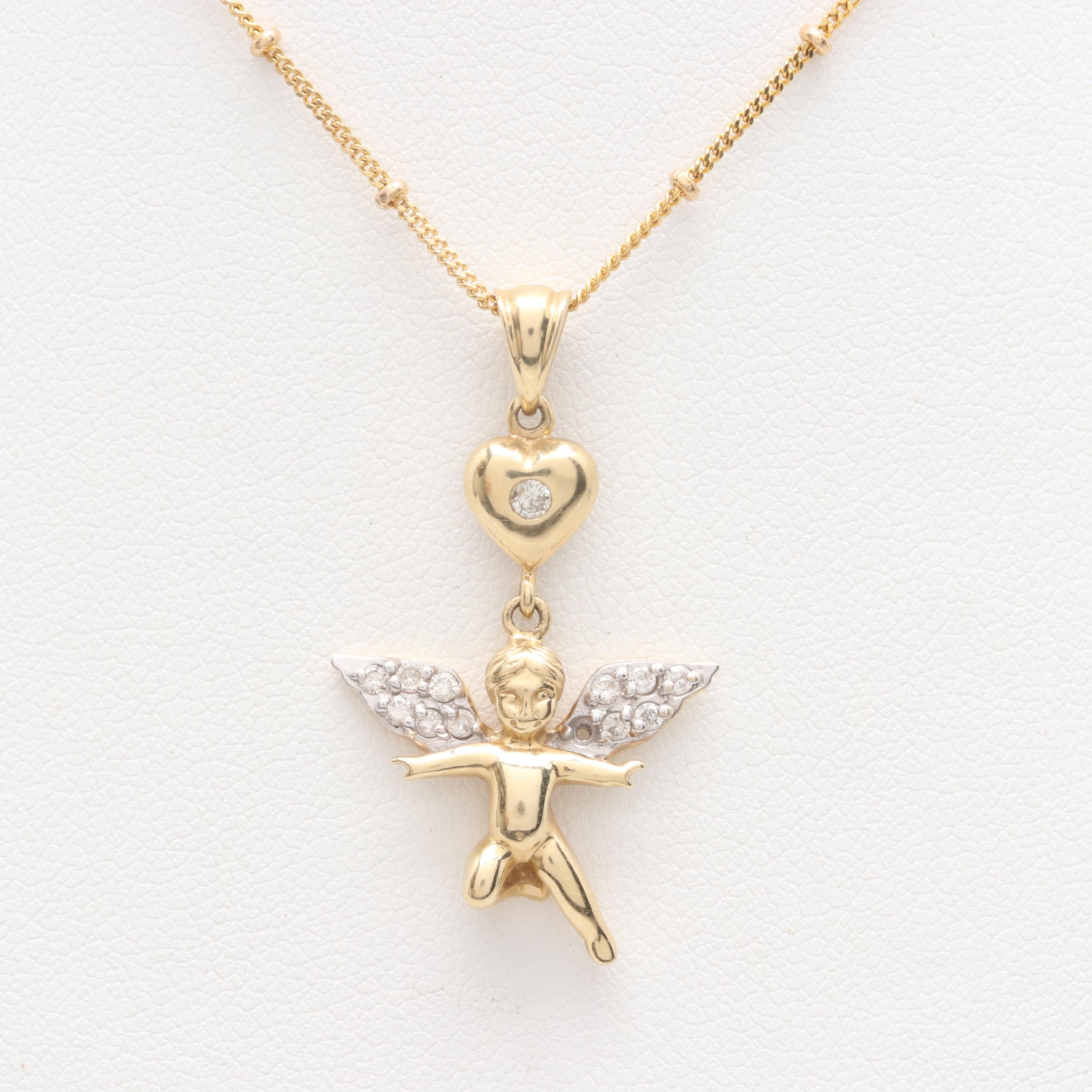 14K Yellow Gold Diamond Cherub and Heart Pendant Necklace